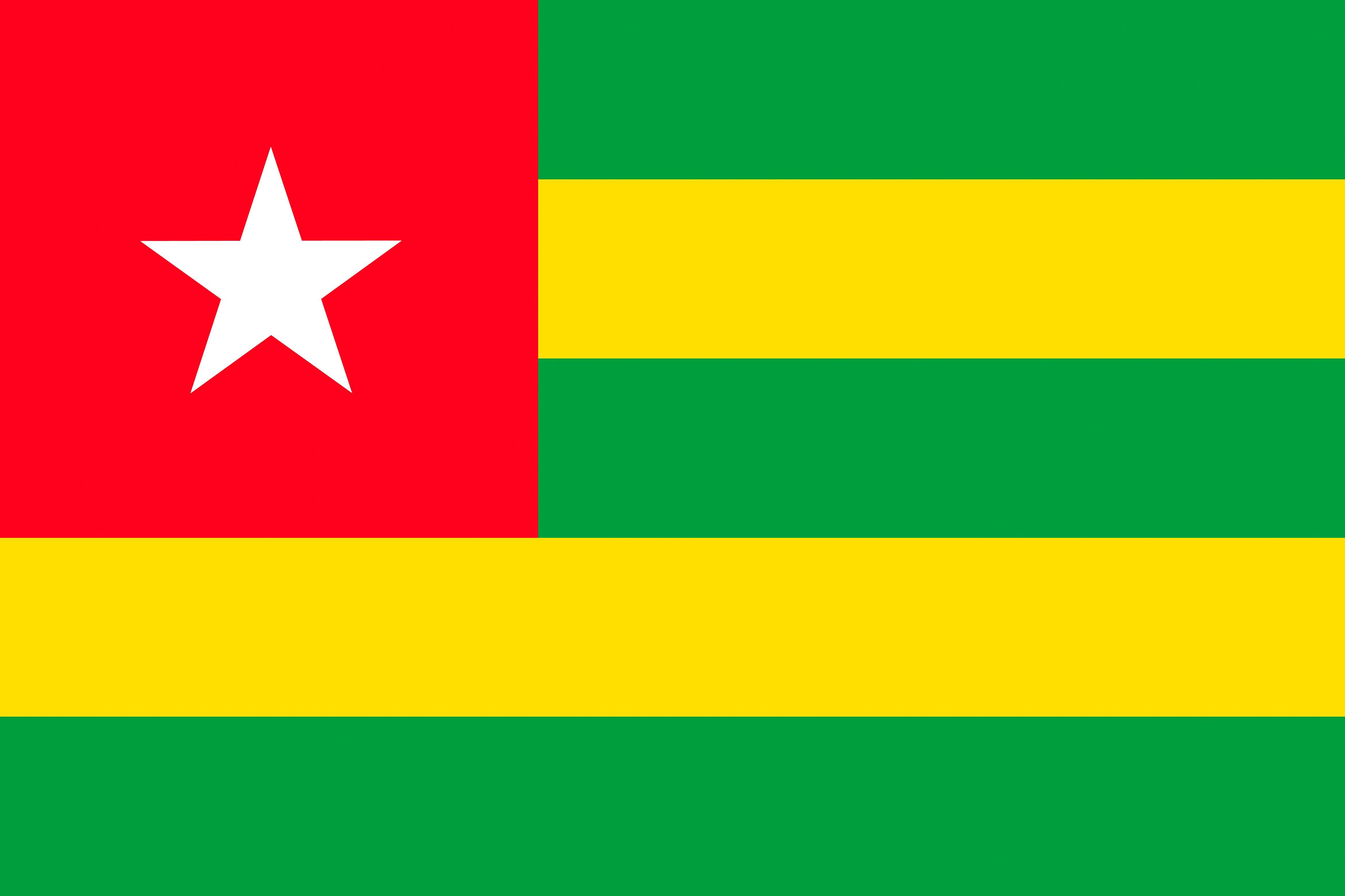 Togo Flag Stripes 4684x3122