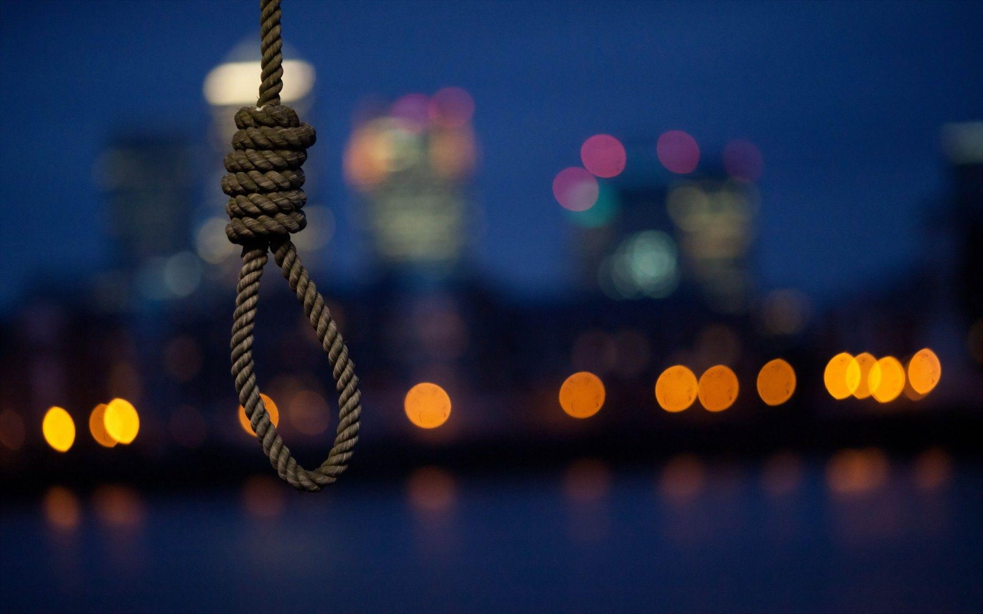 Noose Suicide Hanging Rope Cities Buildings Skyscrapers Mood Night .