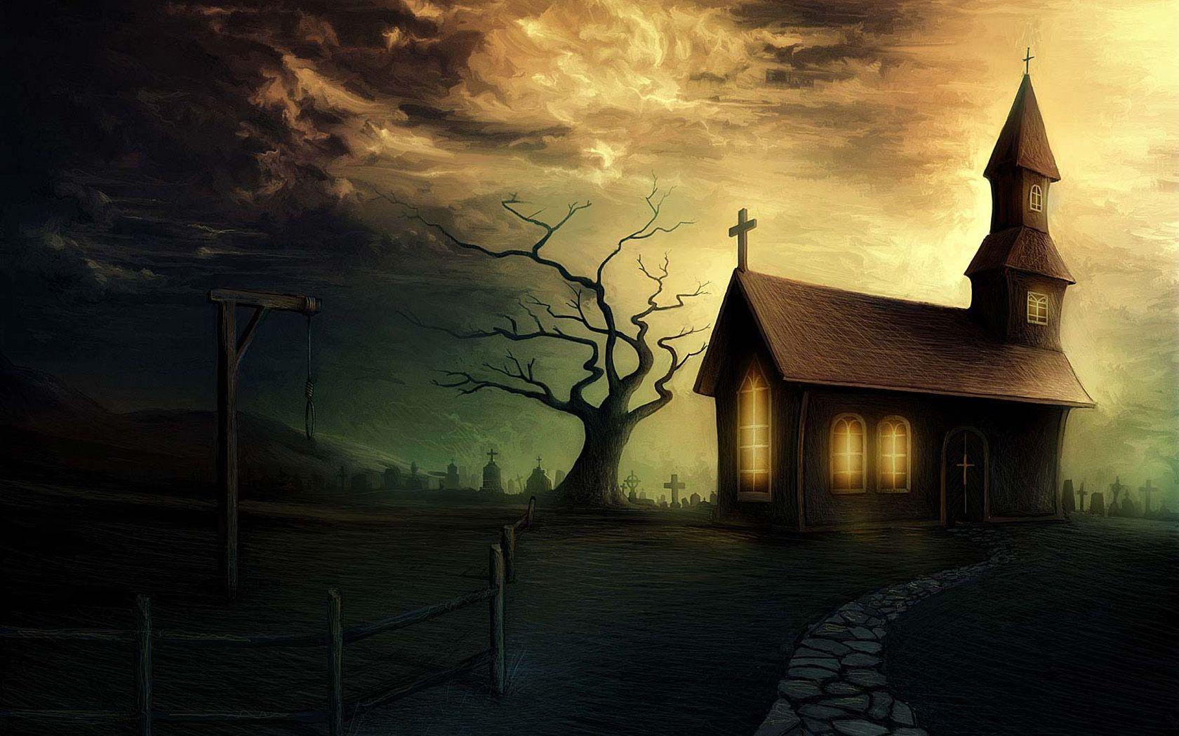 sunset church graveyard noose #513122