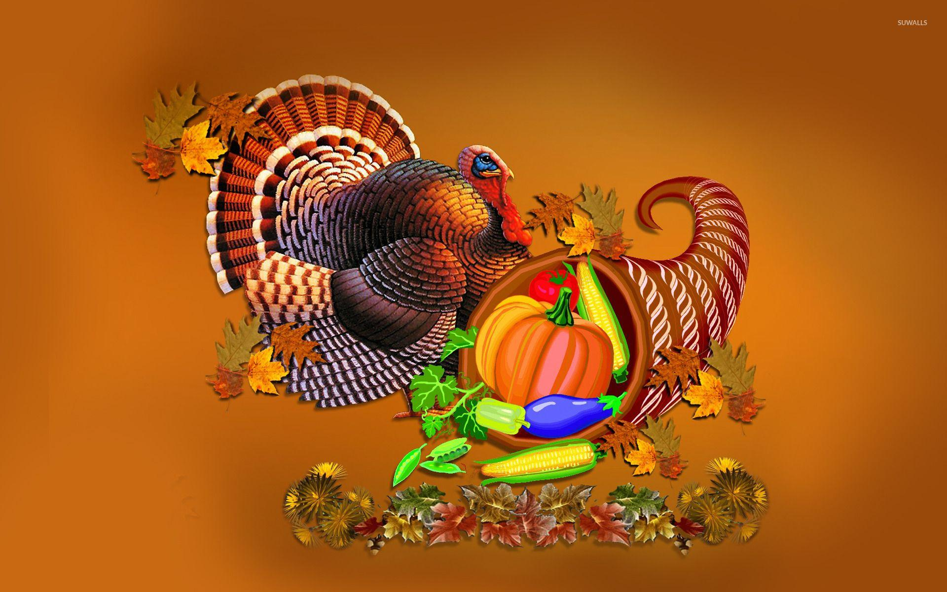 Thanksgiving turkey and cornucopia wallpaper - Holiday wallpapers ...