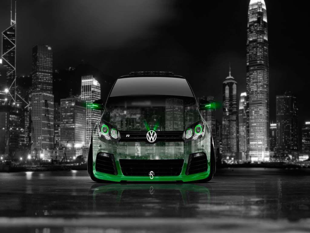 Volkswagen Golf R Front Crystal City Car 2014 Green Neon HD .