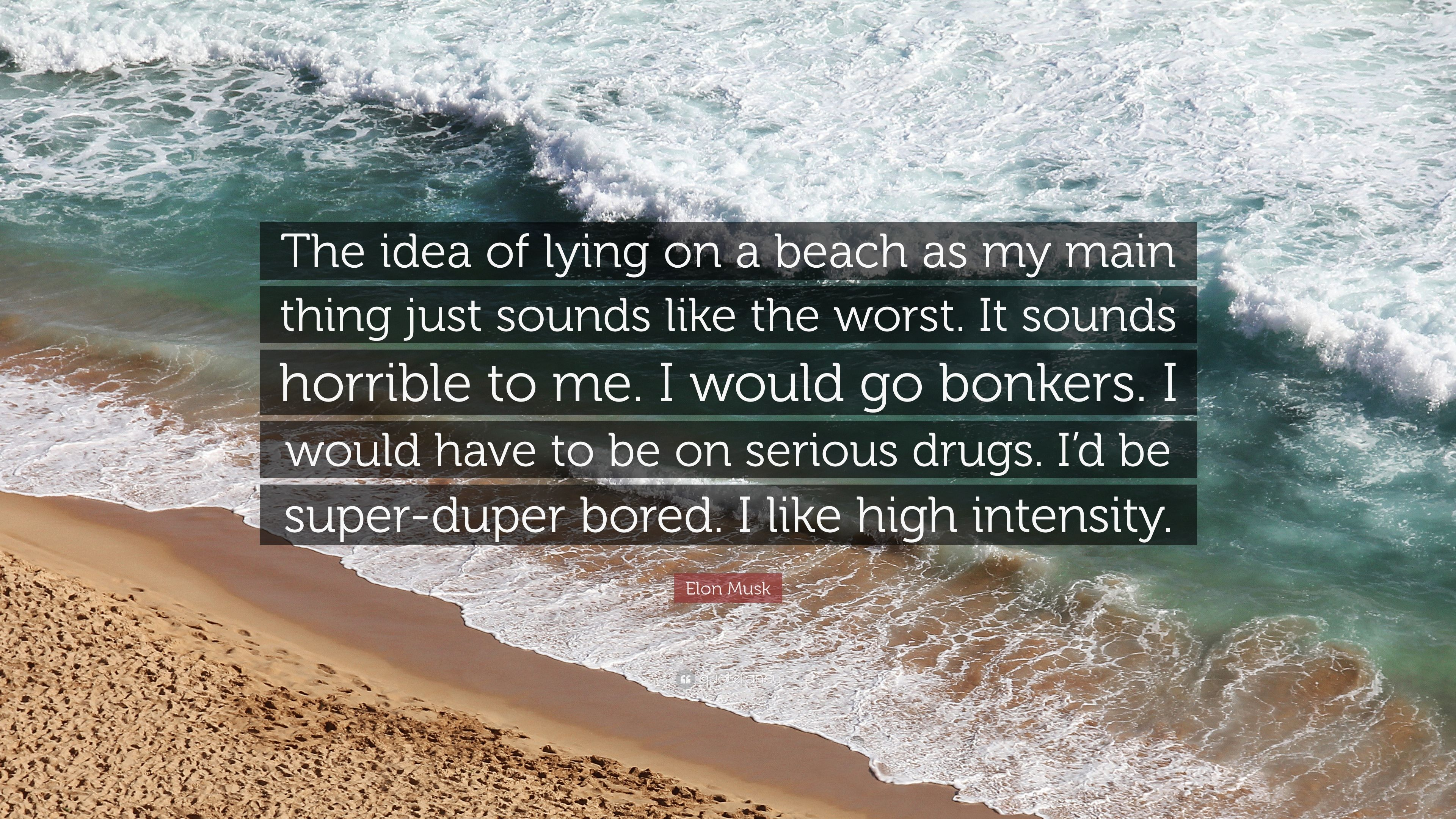 "Elon Musk Quote: ""The idea of lying on a beach as my main thing"
