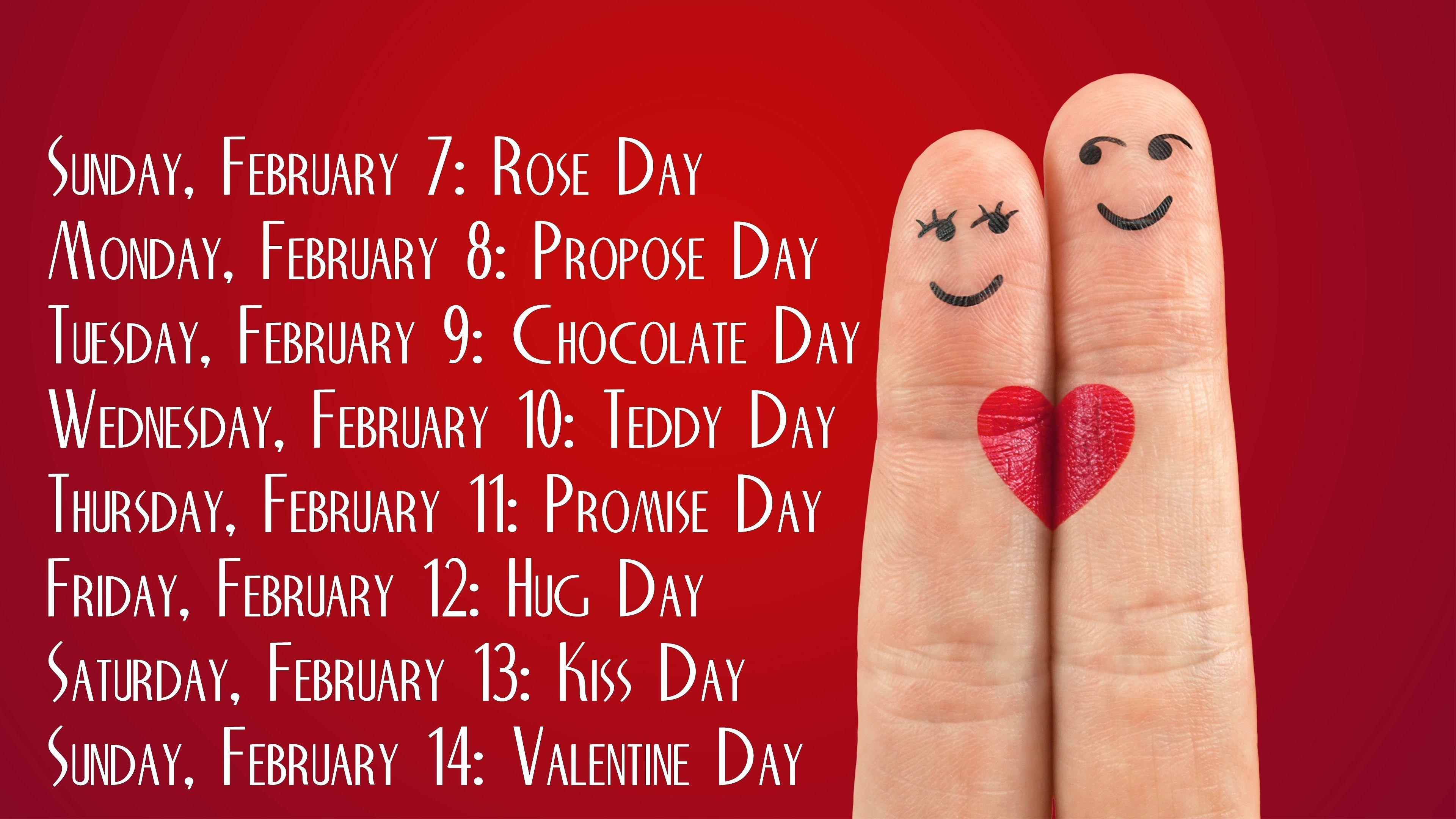 Valentine week name with date calender hd wallpapers