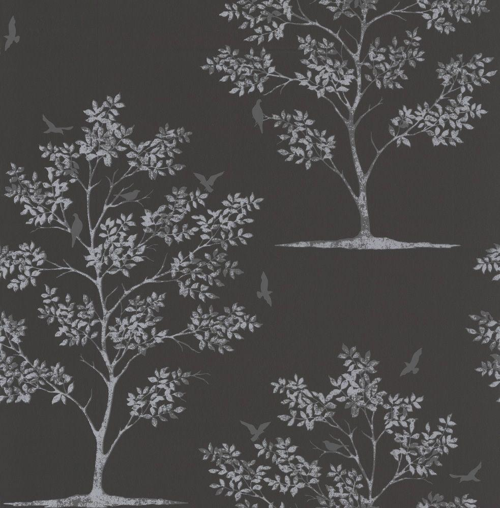Bird Tree by Albany - Black / Silver : Wallpaper Direct