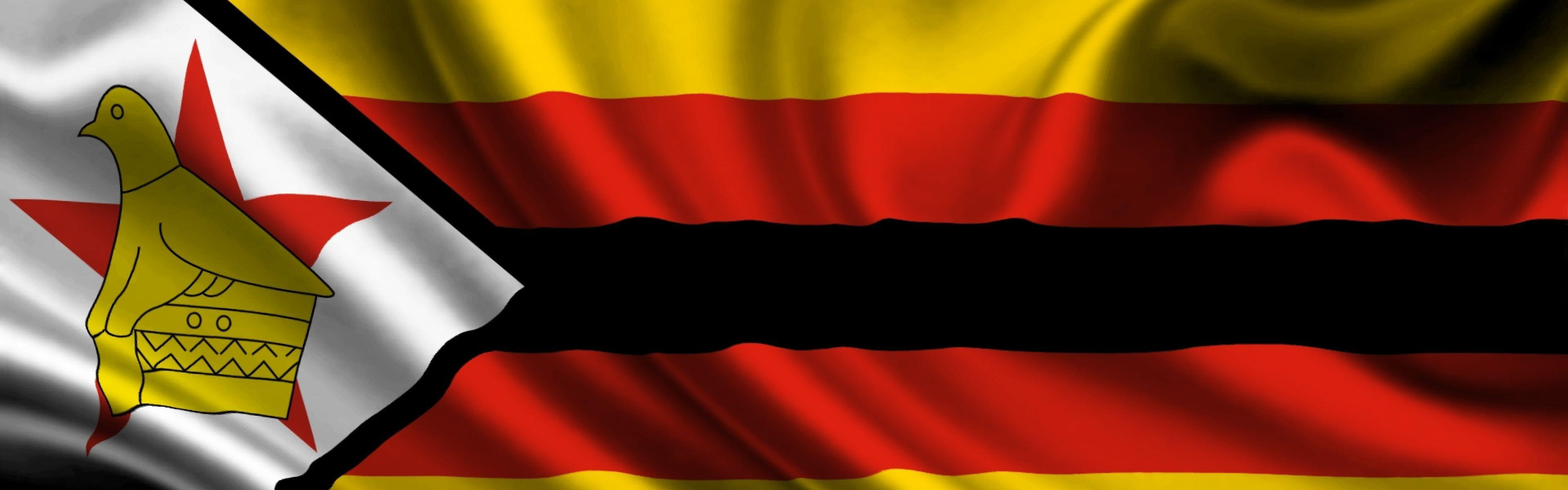 Download Wallpaper 3840x1200 Zimbabwe, atlas, Flag, Cloth, Silk ...