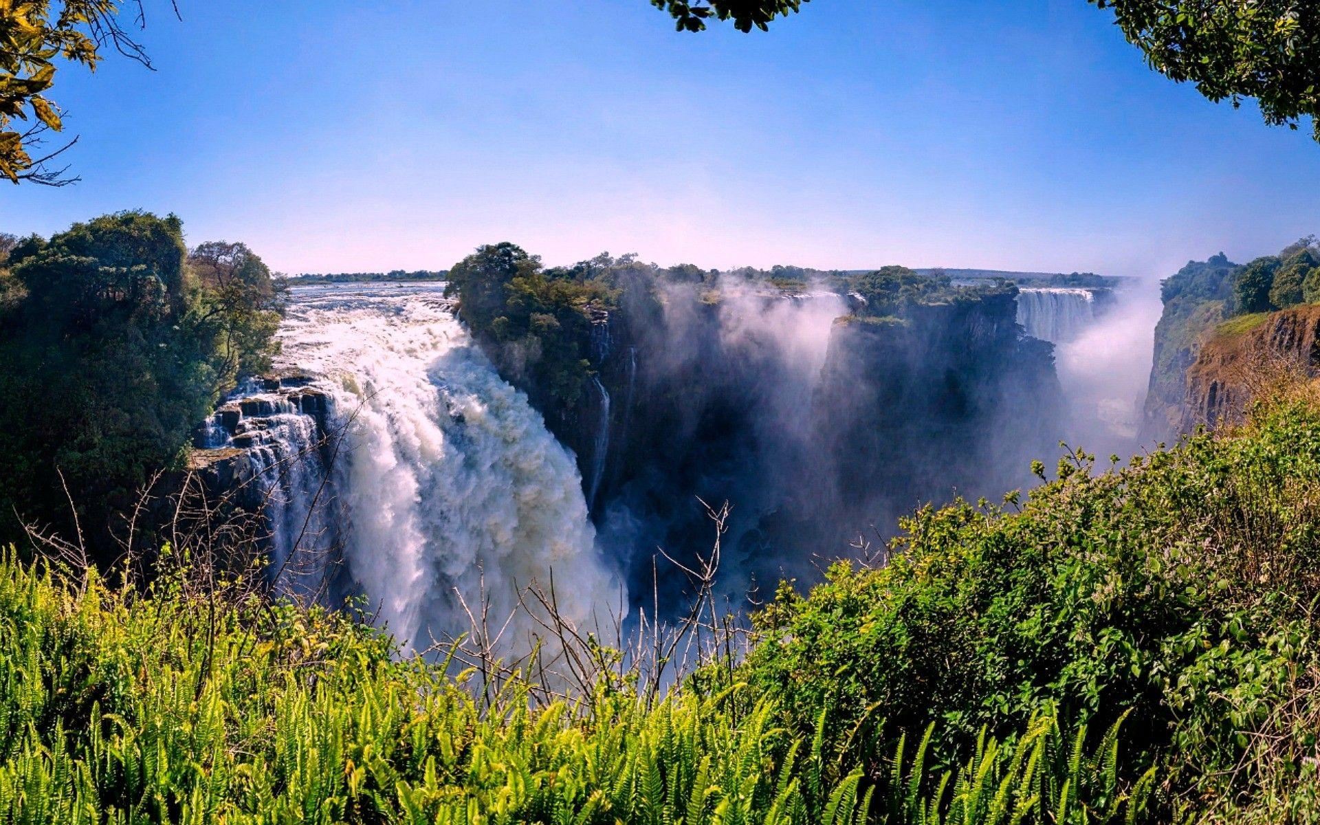 Waterfalls: Victoria Falls Zimbabwe Trees Africa Nature Waterfalls ...