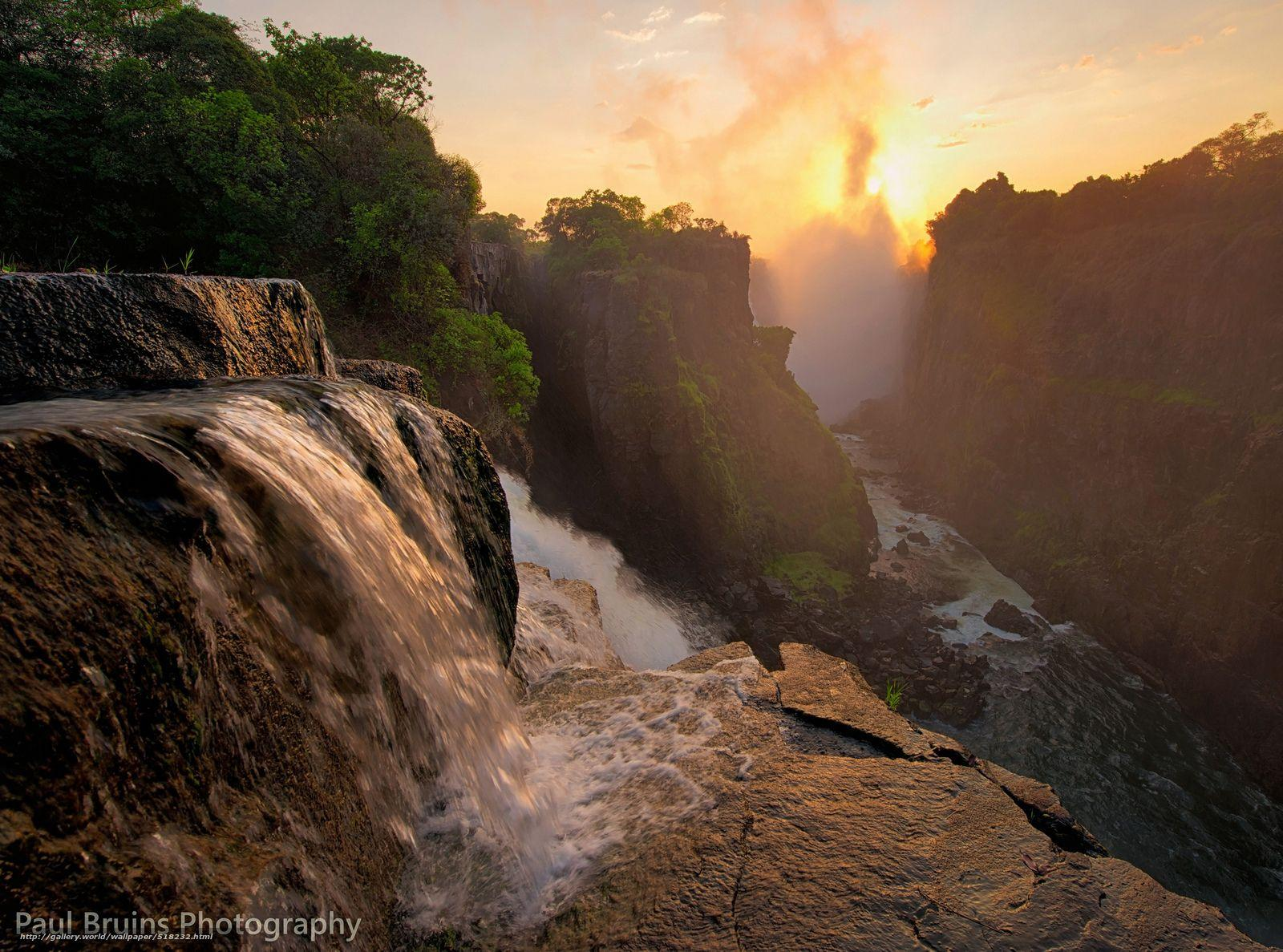 Download wallpaper Zimbabwe, waterfall, Africa, Victoria free ...