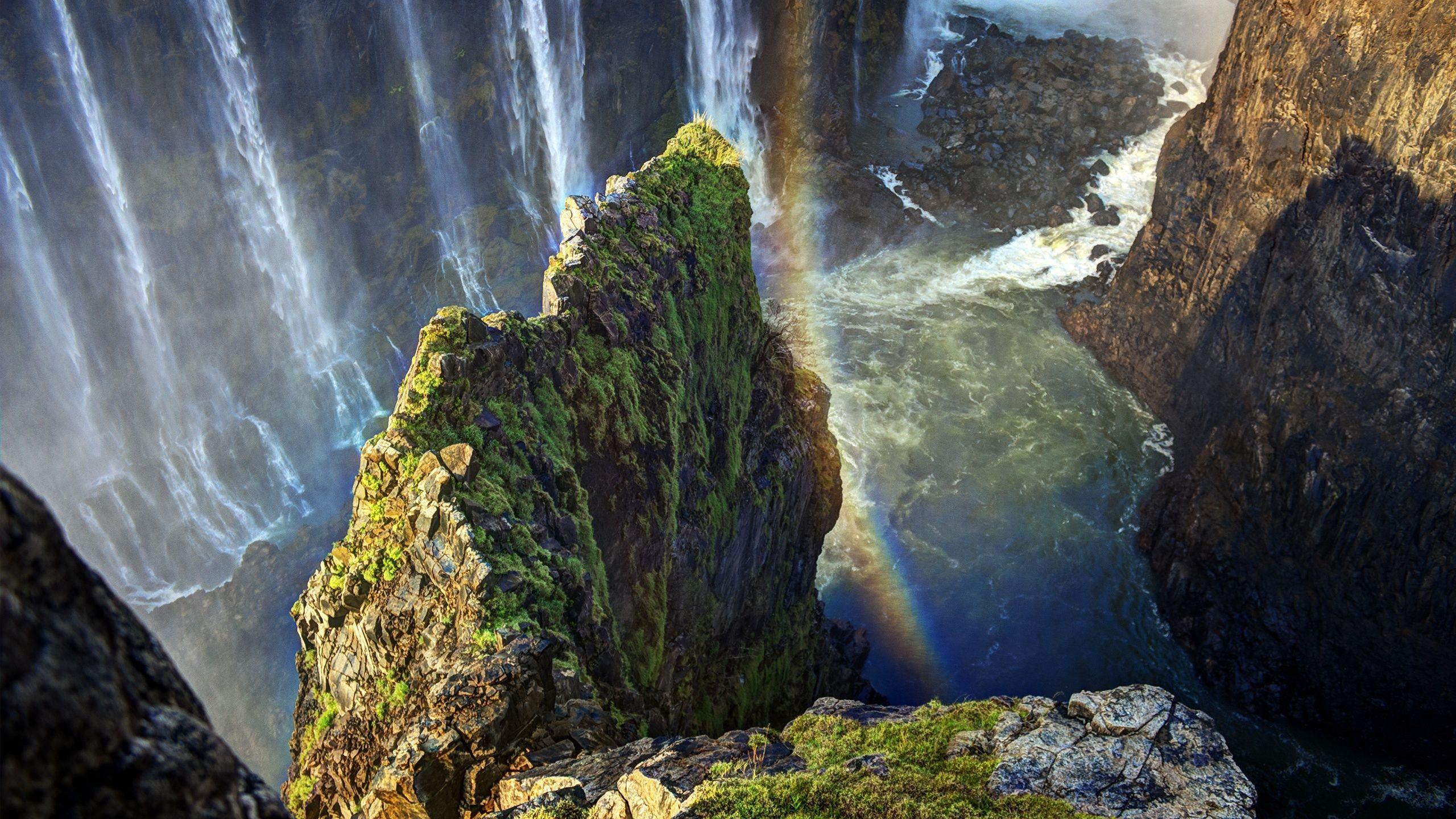 Wallpaper height, waterfall, cliff, rainbow, water, victoria falls ...