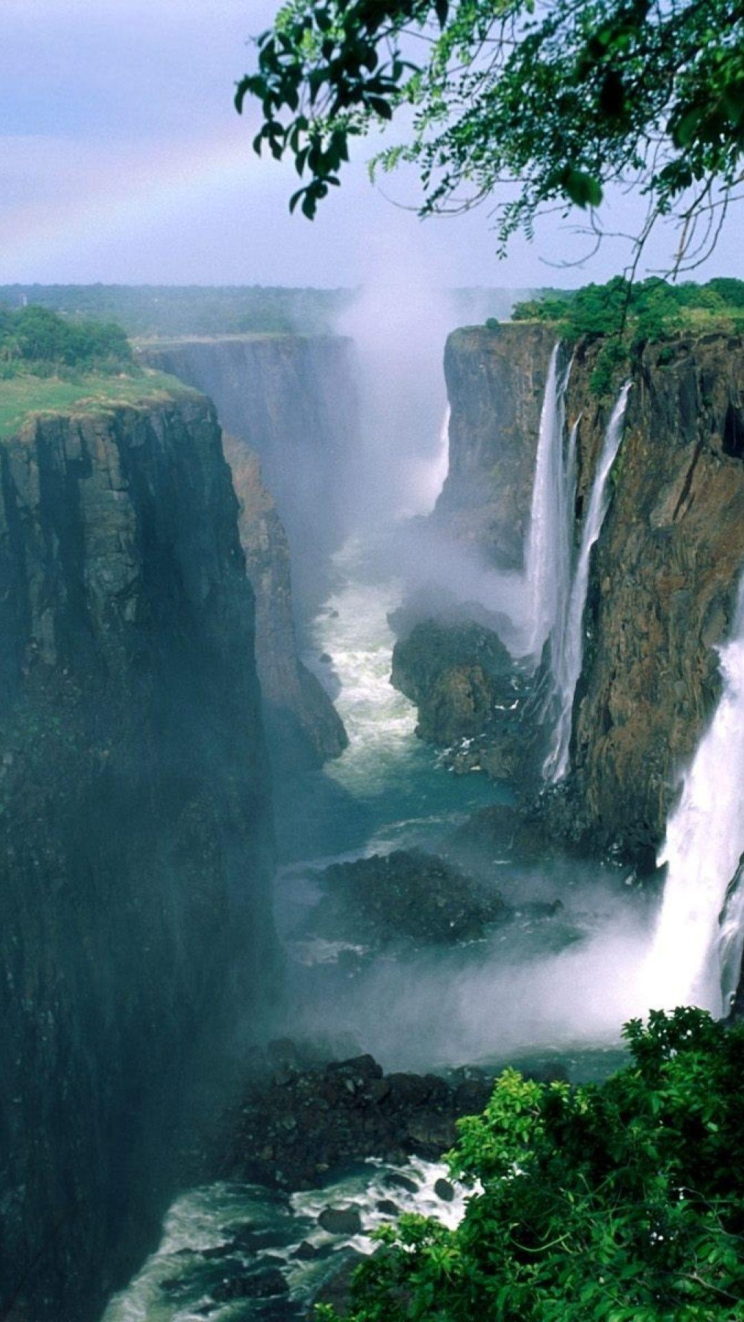 1080x1920 Zimbabwe Waterfalls & Rainbow Htc one wallpaper