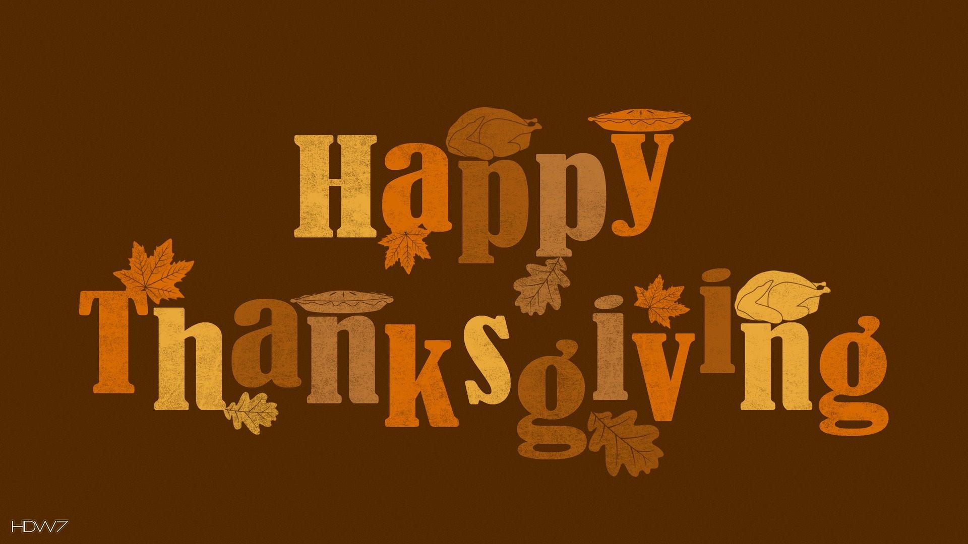 happy thanksgiving text orange brown vector art holiday | HD ...