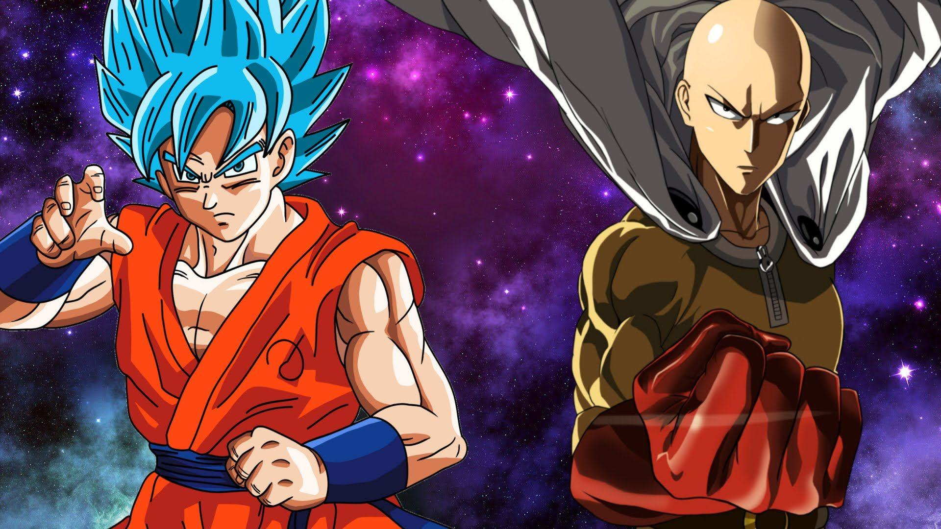 Battle between Goku and Saitama