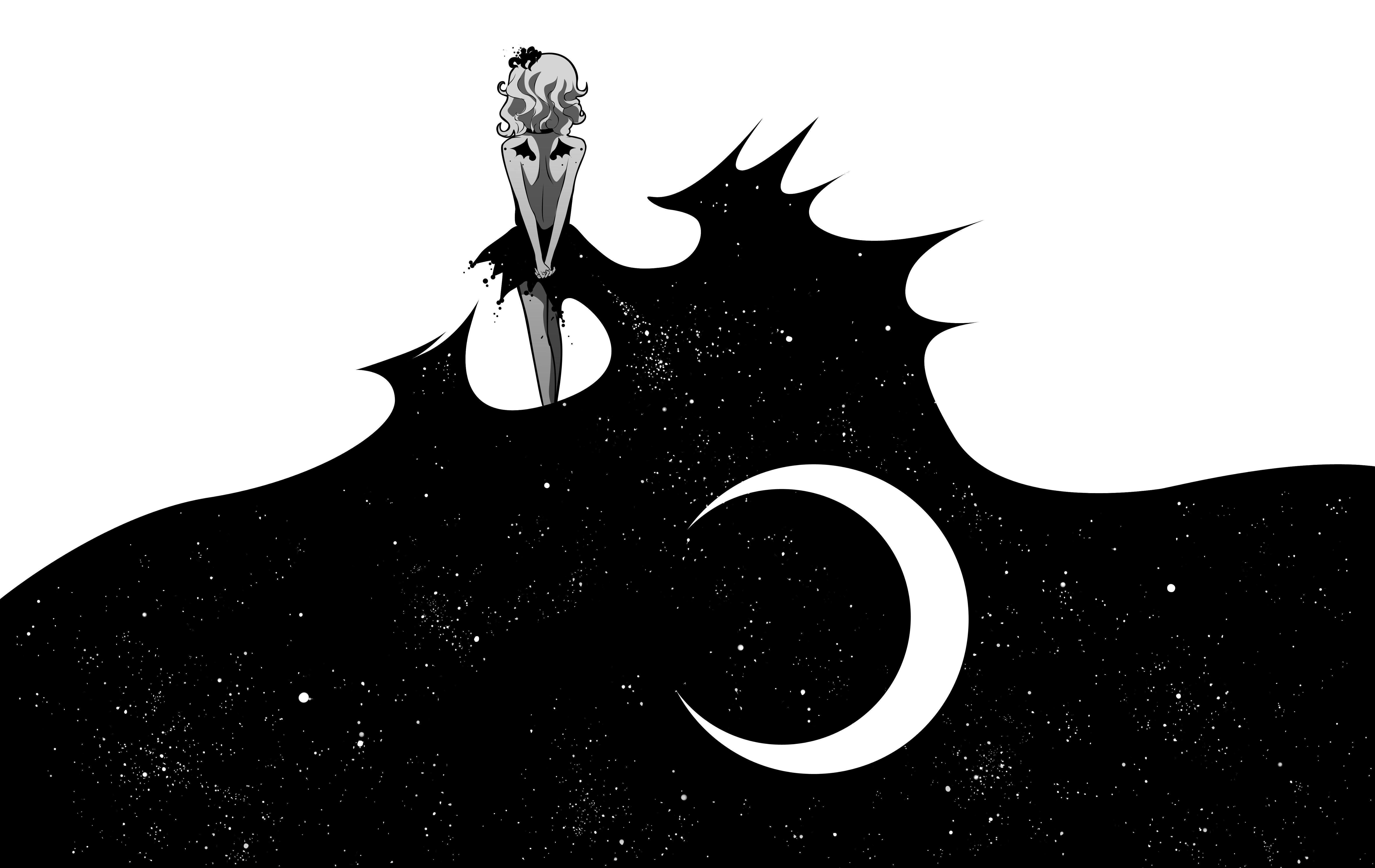 Wallpaper anime art moon girl black white x on full hd pics of