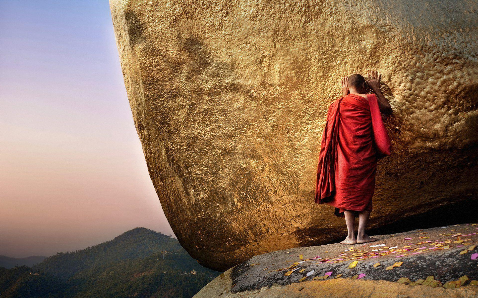 buddha chayttiyo weather gold mountain monk burma myanmar HD wallpapers