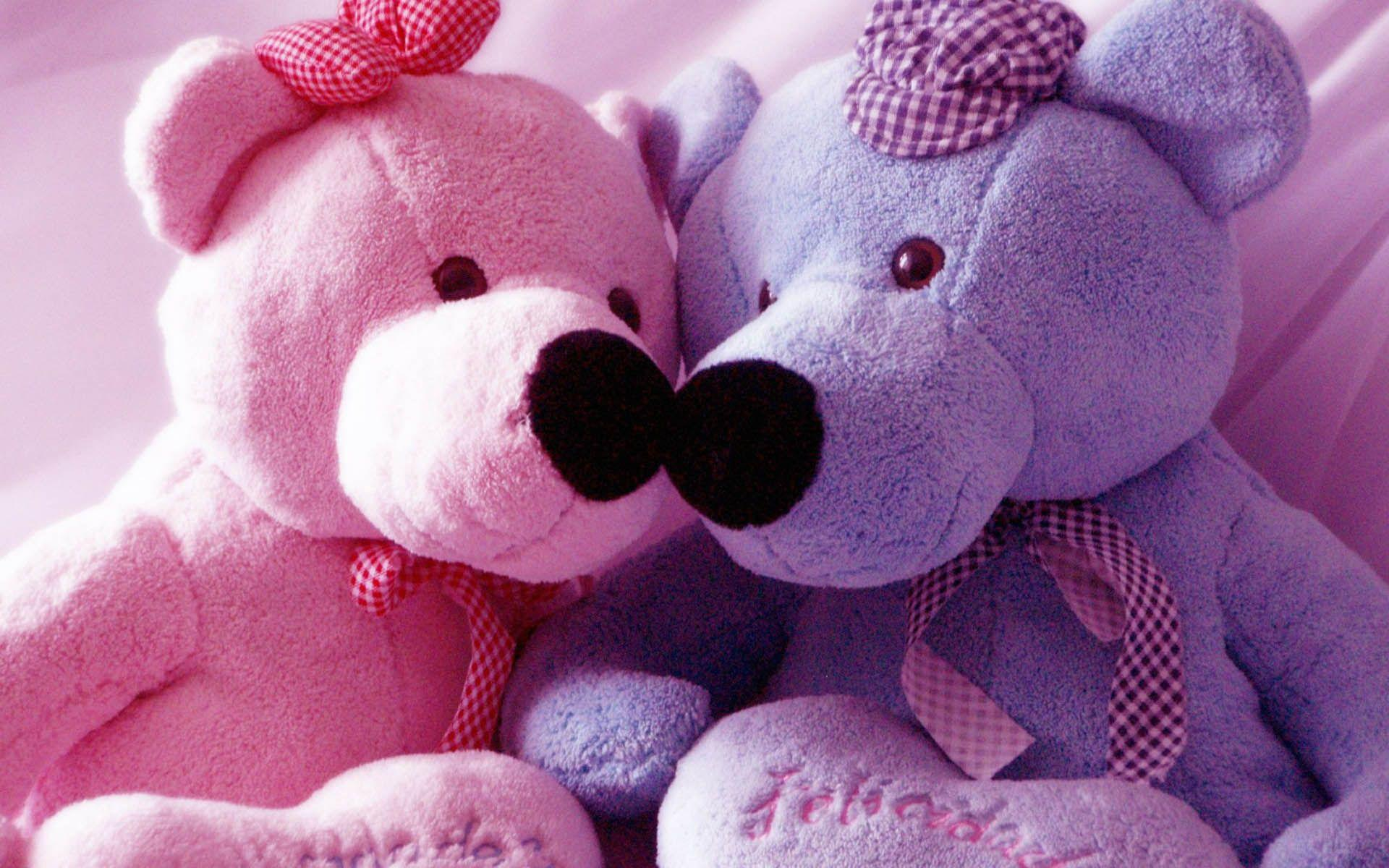 Pink And Blue Teddy Bear Wallpaper Computer 62 7639