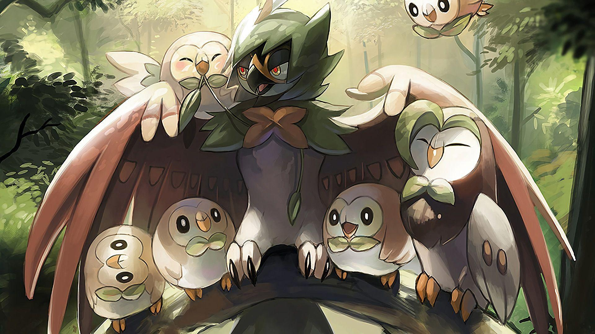 Rowlet Dartrix Decidueye Pokemon Sun... Wallpaper #14697