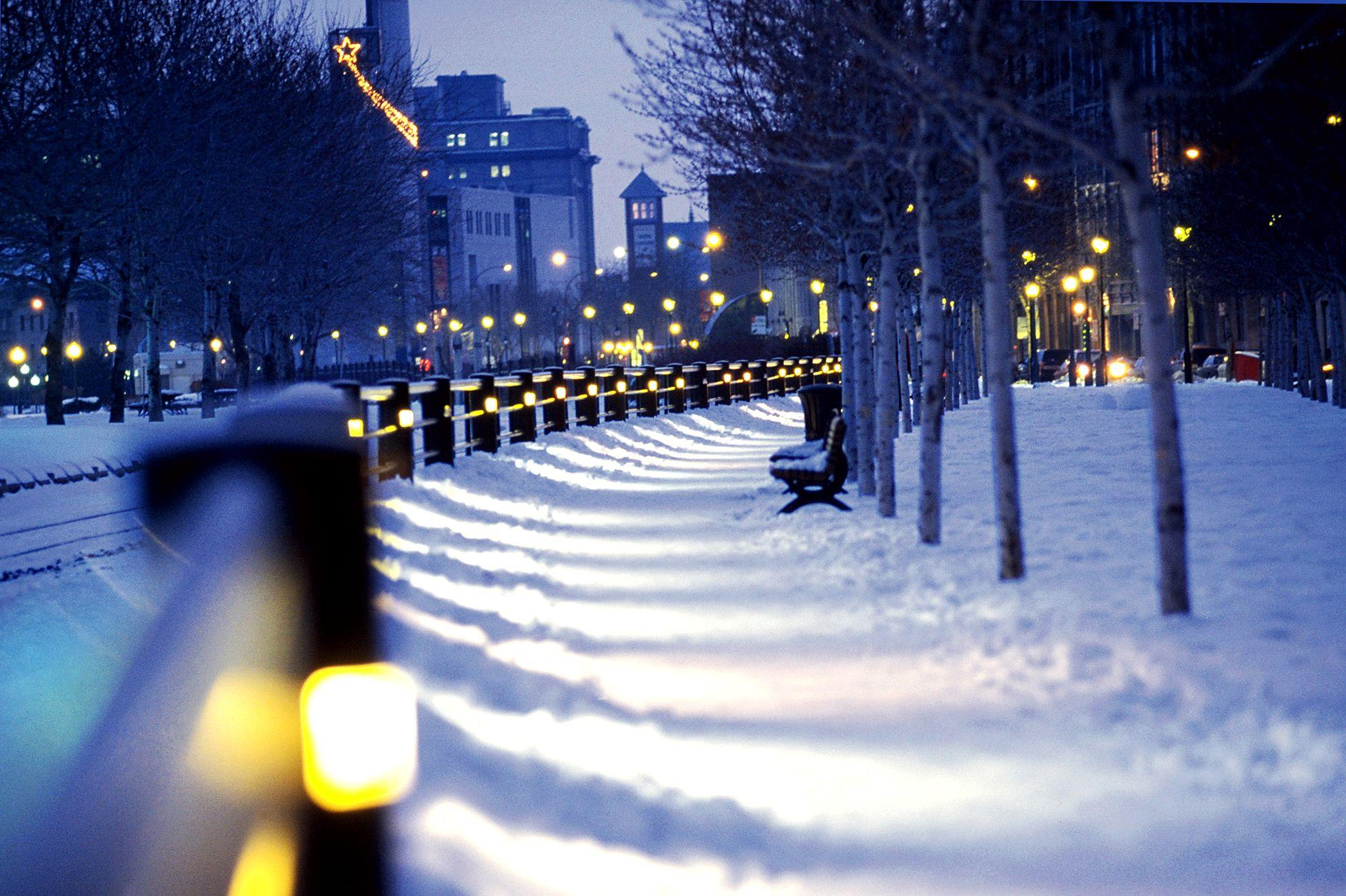 Montreal, Snow, Lights, Winter, City, Canada Wallpapers HD .