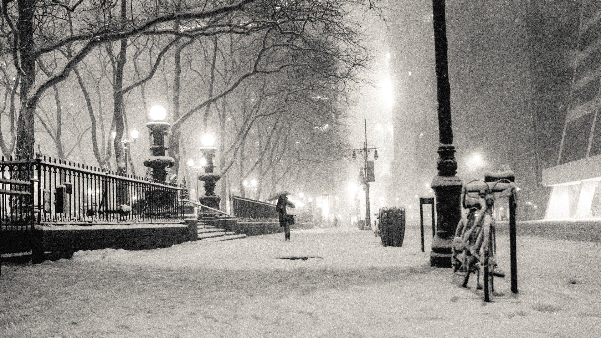 black and white, winter, snow, New York City, monochrome, cities .