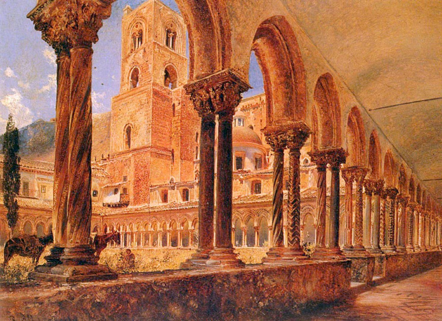 A View Of Monreale Above Palermo - Austrian Art