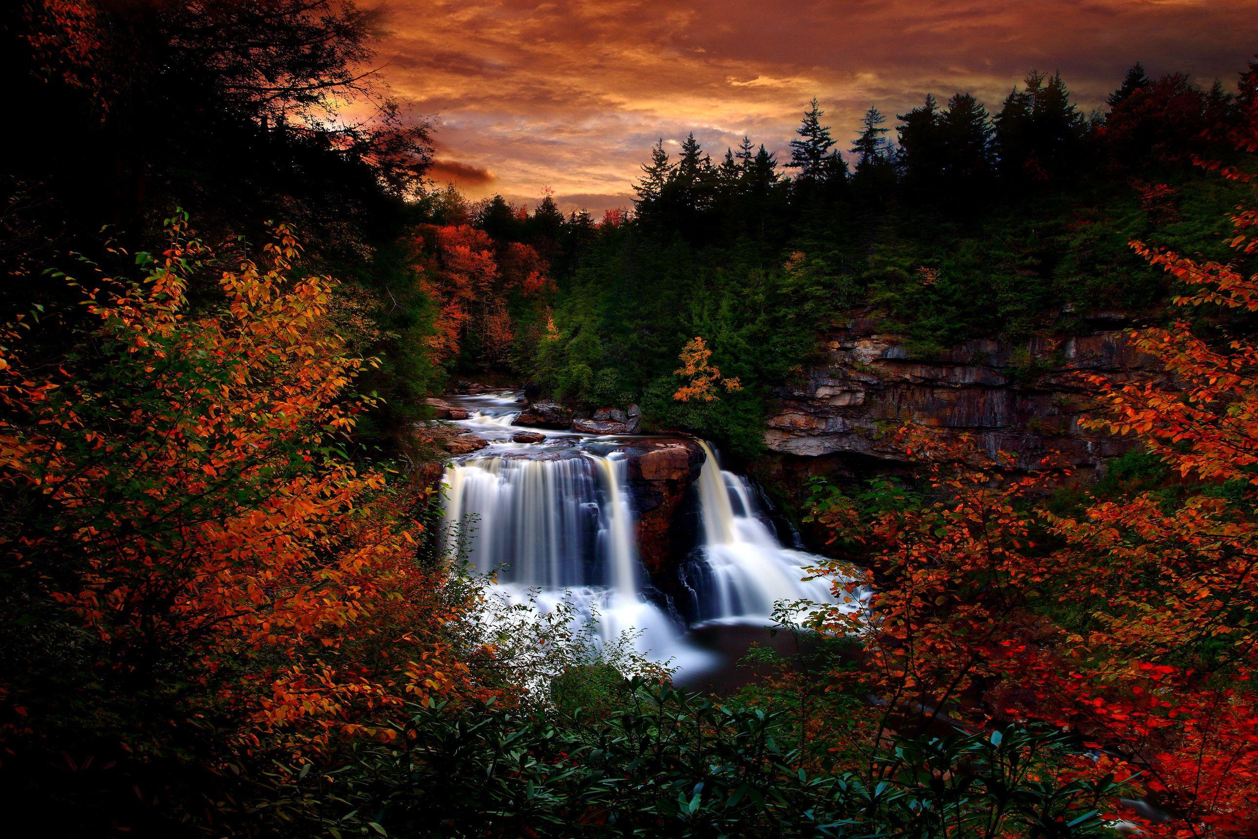 Autumn Waterfall at Blackwater Falls State Park, West Virginia by