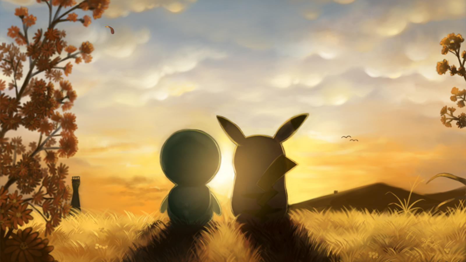pikachu and piplup sunrise #879501