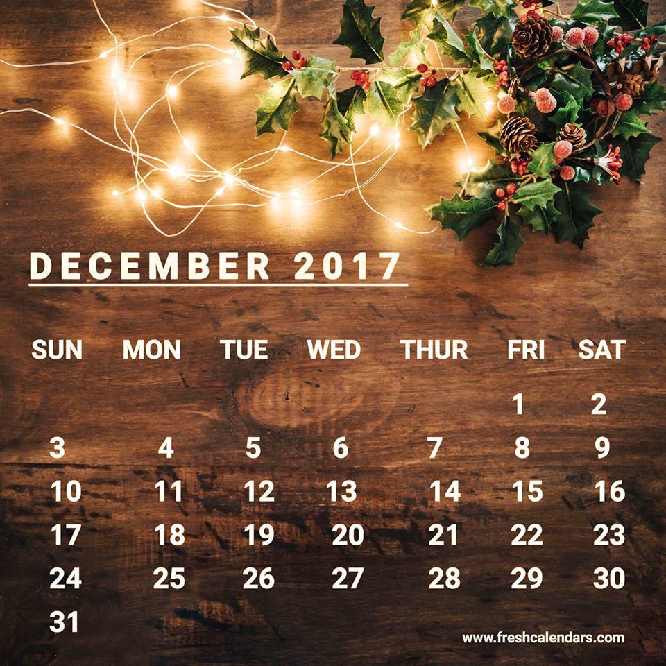 december 2017 calendar wallpapers