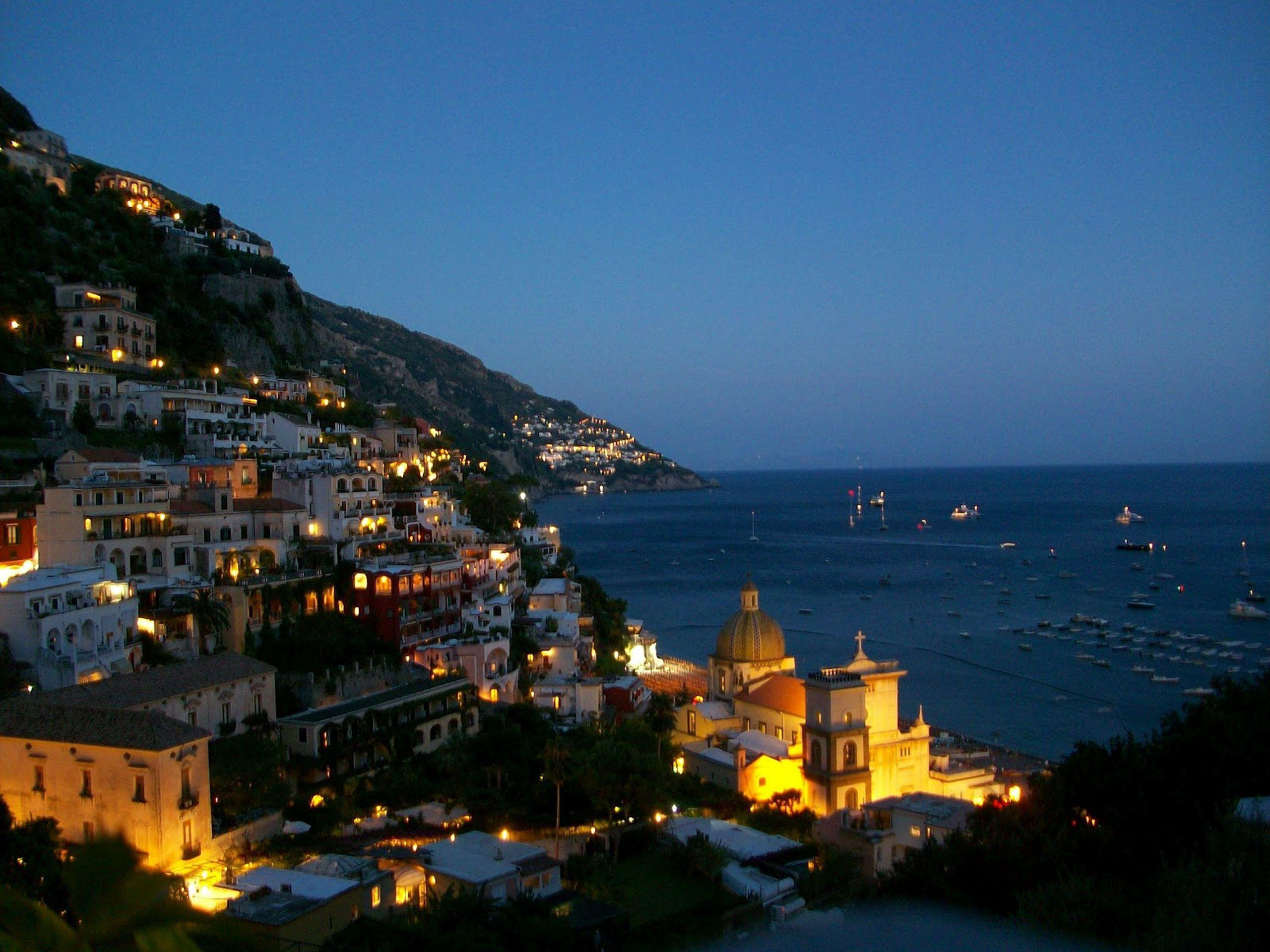 Evening lights at the resort in Amalfi, Italy wallpapers and