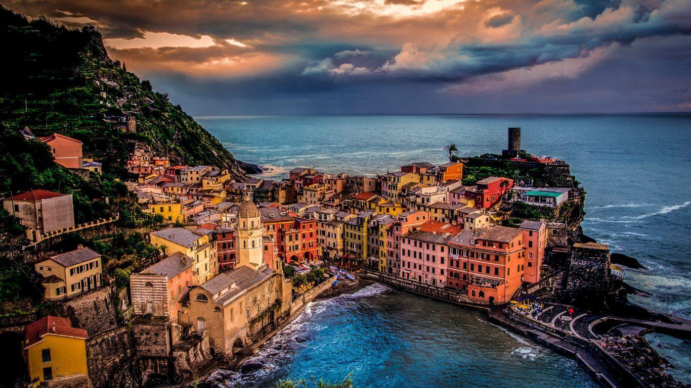 Houses: Vernazza Italy Mediterranean Amalfi Coast Clouds Water Sea
