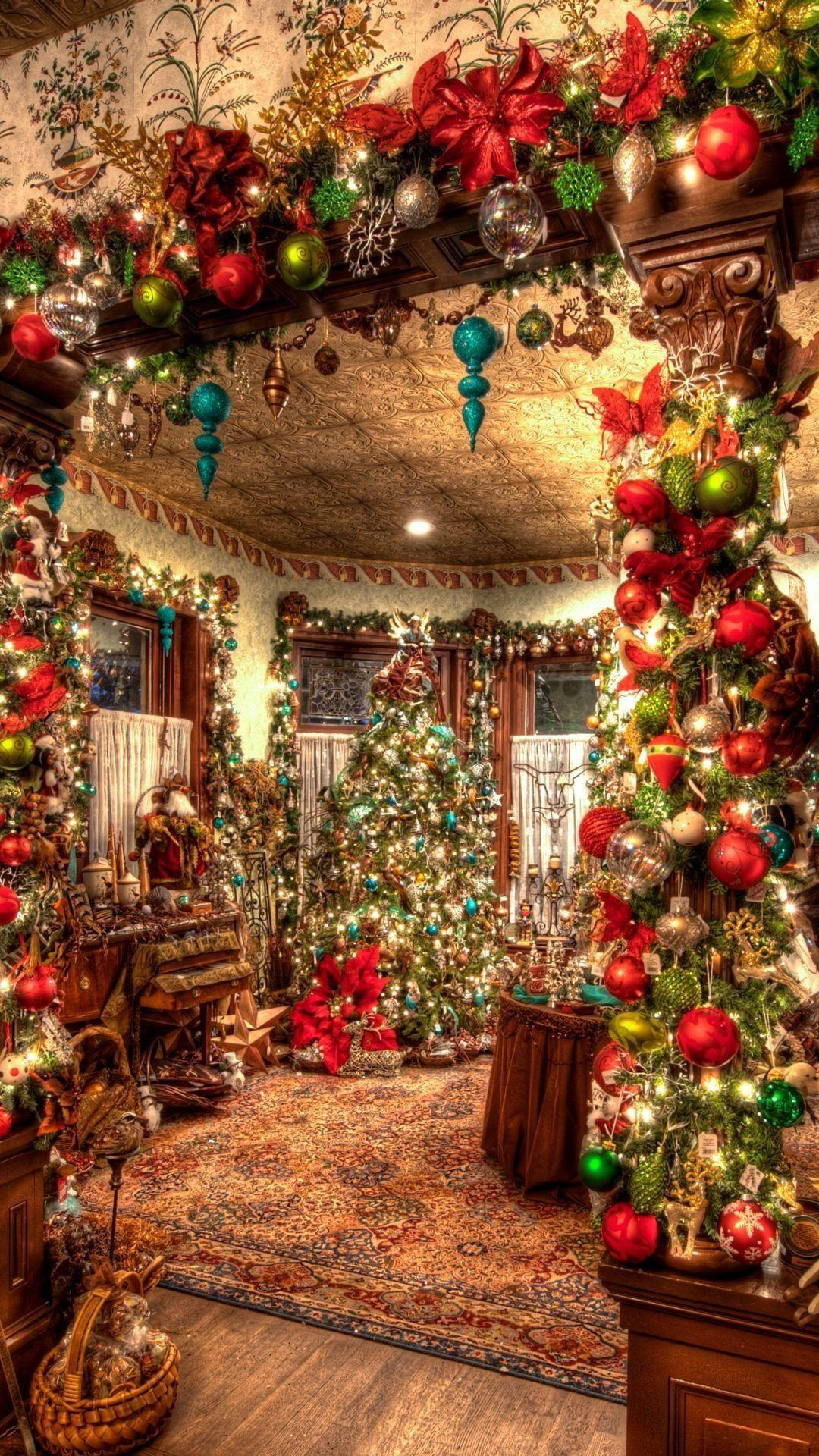 Christmas Decorations Big Room Tree Android Wallpapers free