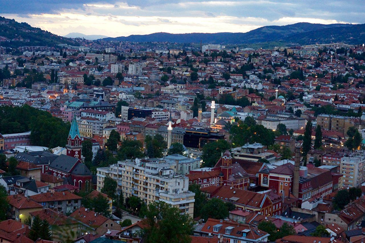 Photos Bosnia and Herzegovina Sarajevo Evening Cities Houses