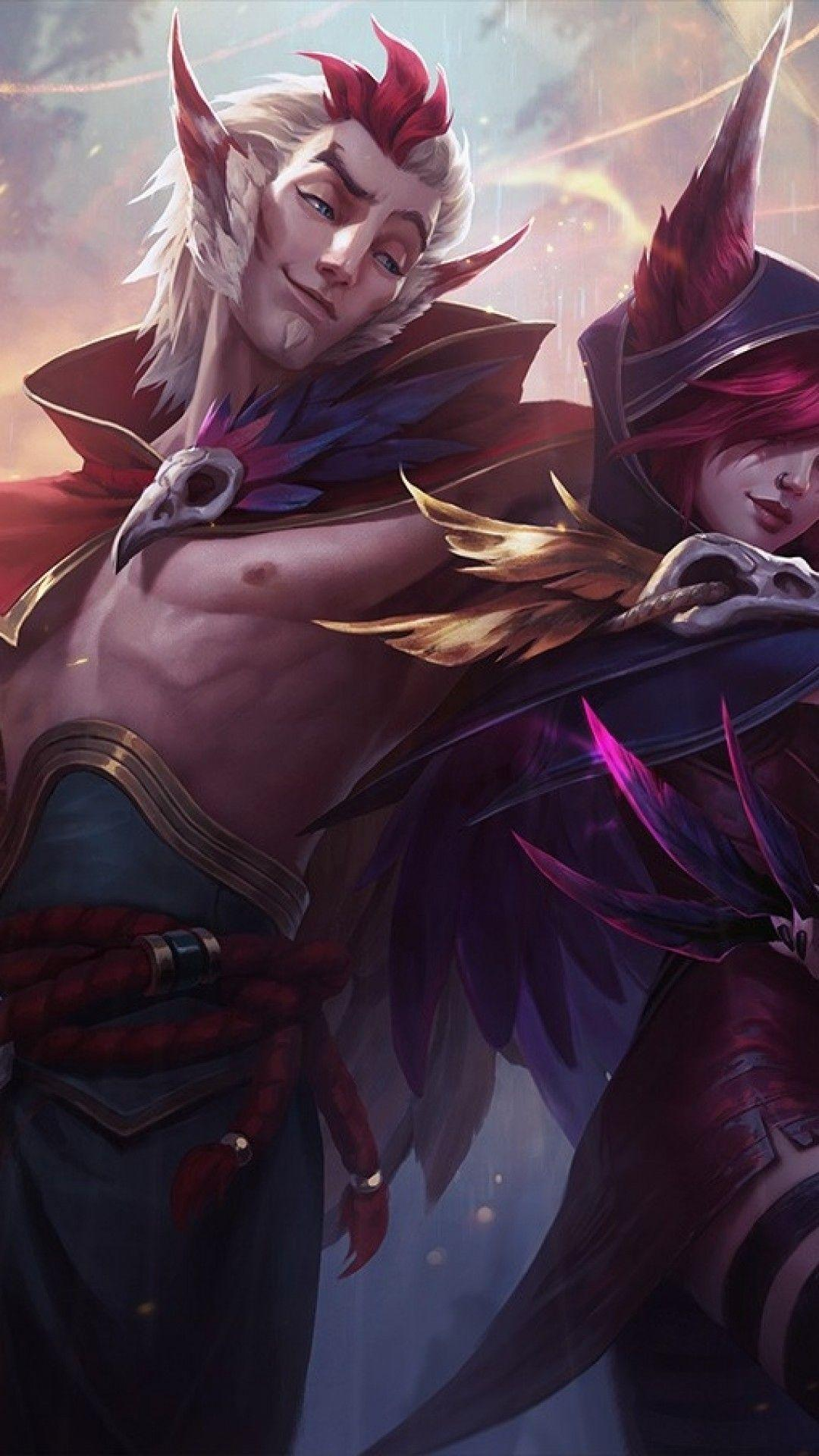 Download 1080x1920 League Of Legends, Rakan, Xayah, Artwork ...
