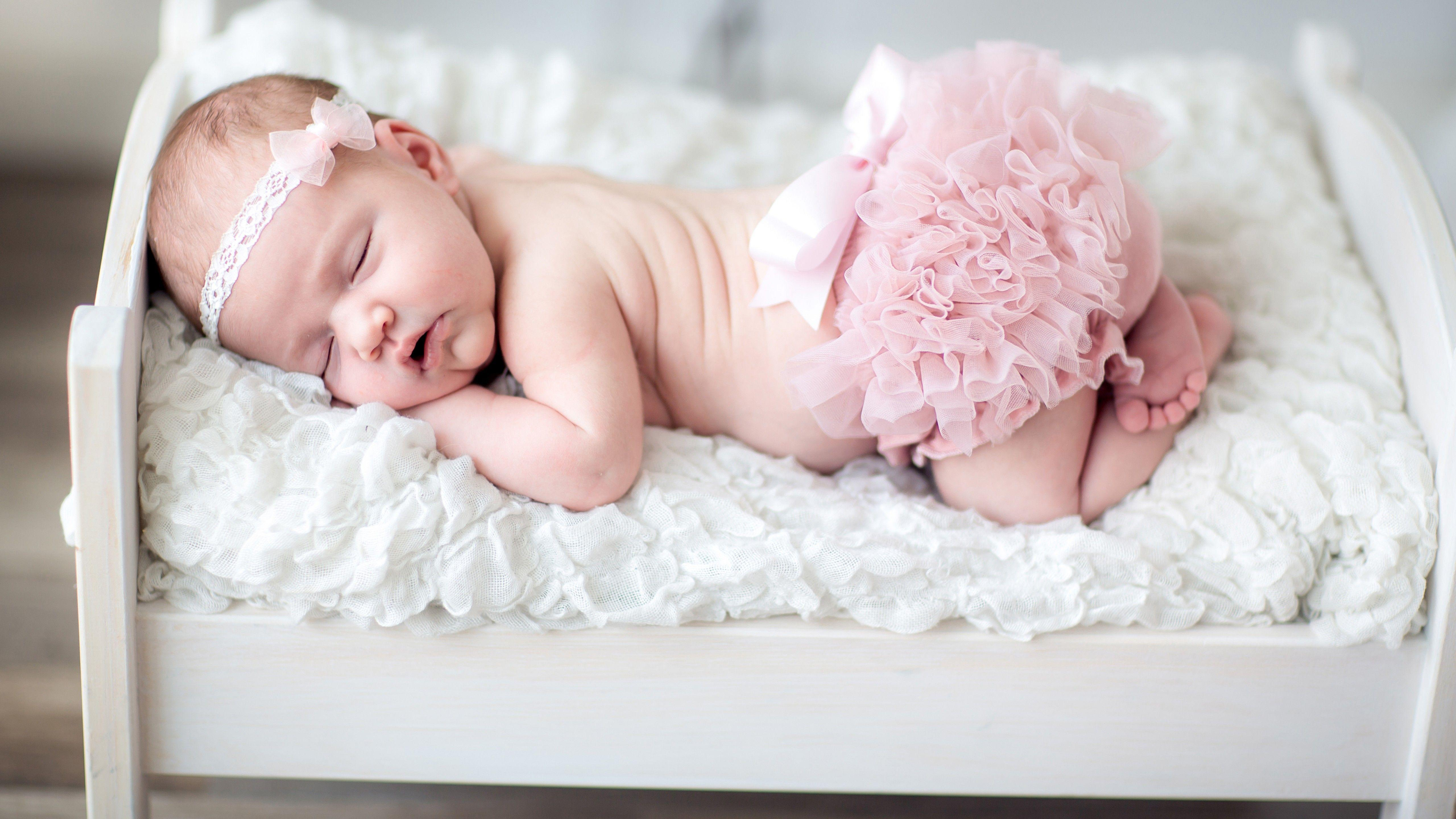 Wallpaper Newborn Baby, Baby girl, Cute baby, Sleeping, Headband ...