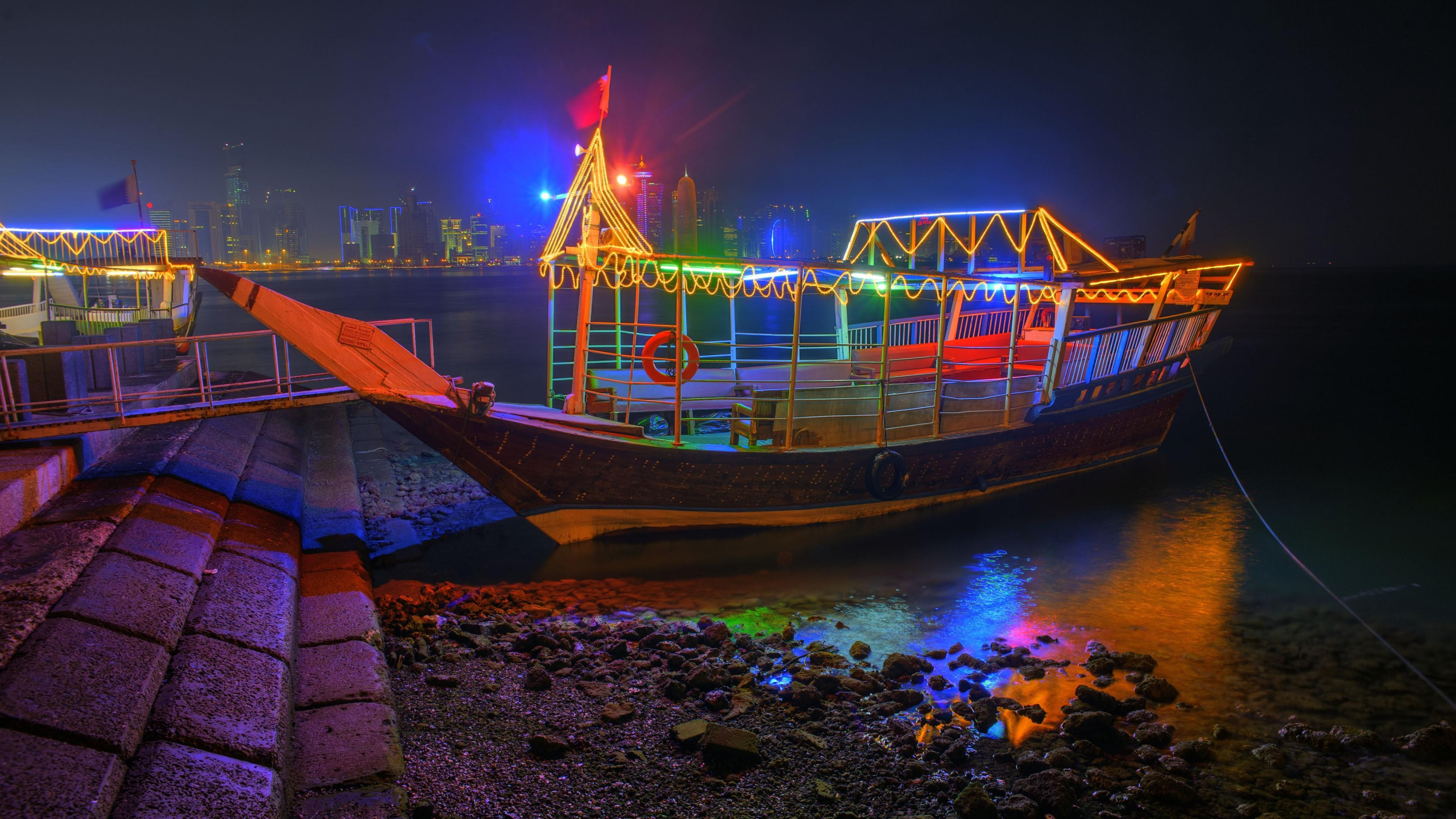 Colorful Illuminated Dhow Boat At Night