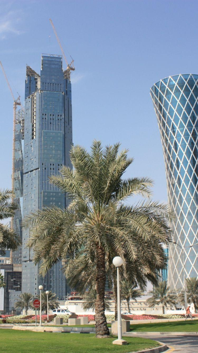Download Wallpapers 750x1334 Qatar, Doha, City, Buildings, Palm