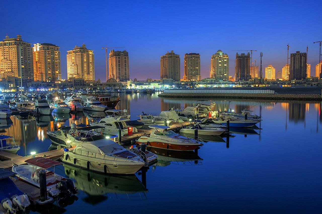 Photos Doha Qatar Pier Yacht Motorboat night time Cities Building