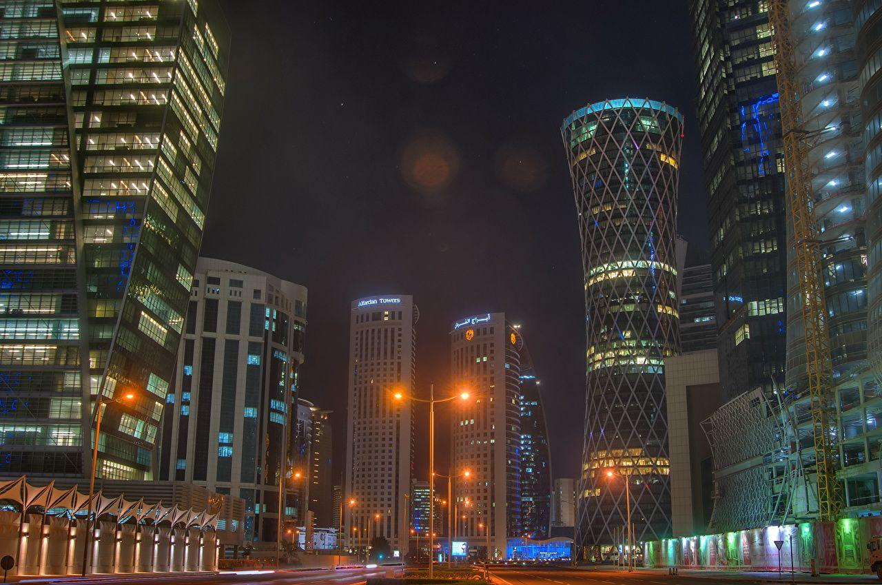 Picture Doha Qatar Street Night Skyscrapers Cities Houses