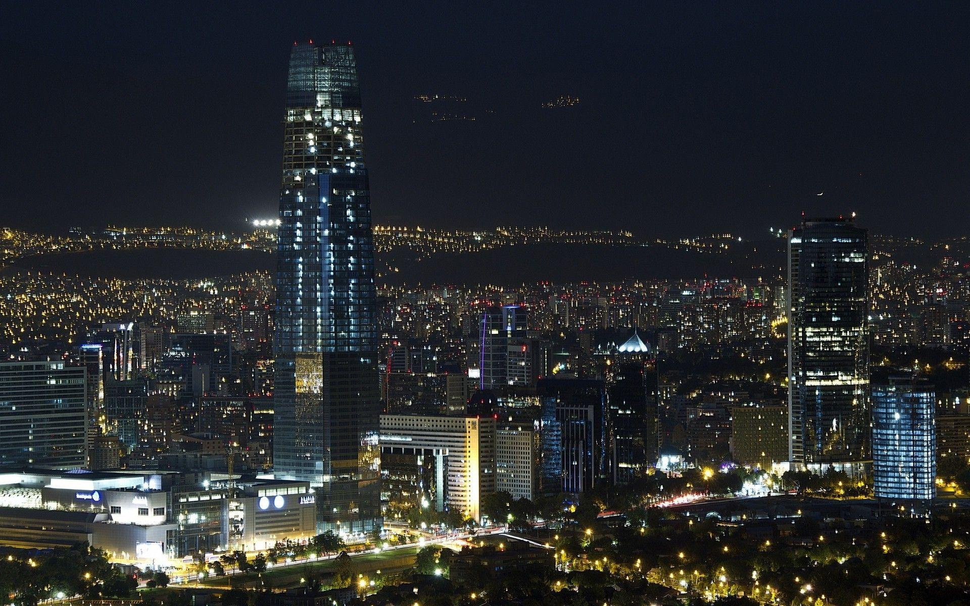 landscape, Lights, Santiago De Chile, Cityscape, Night, Skyscraper ...