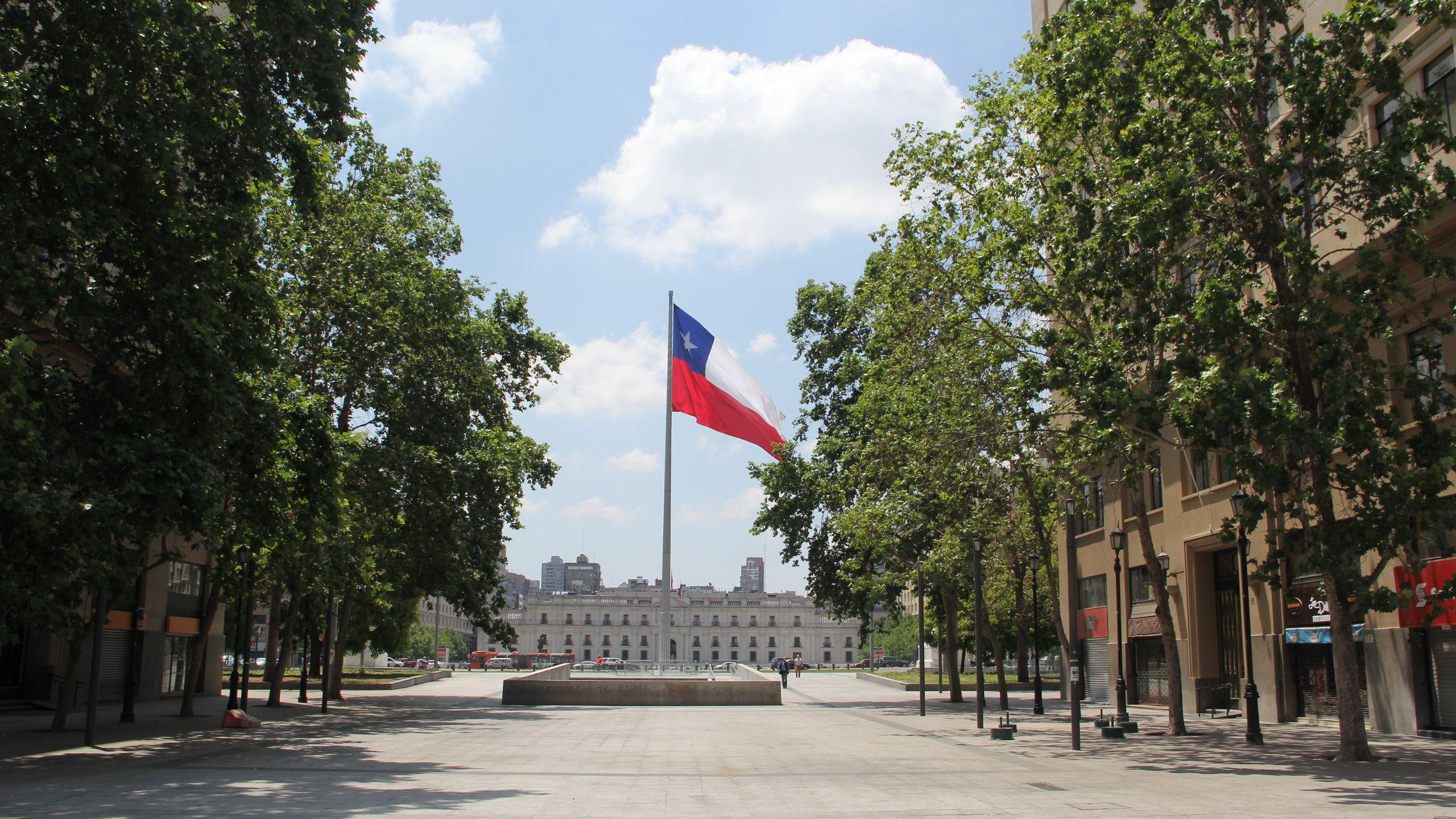 Photo Santiago Chile Flag Street Trees Cities 2560x1440
