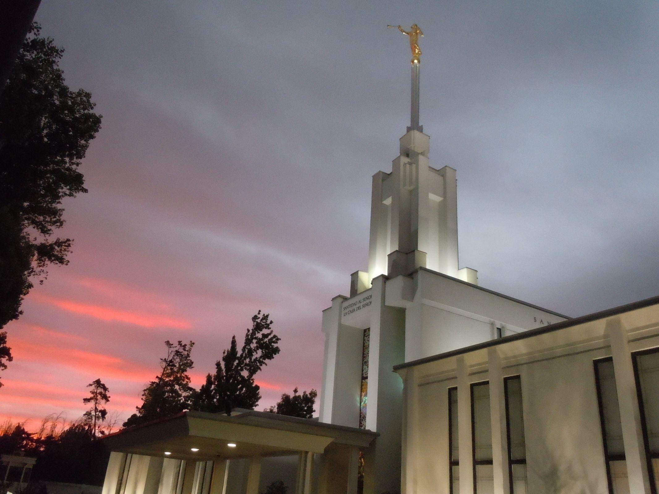 Santiago Chile Temple in the Evening