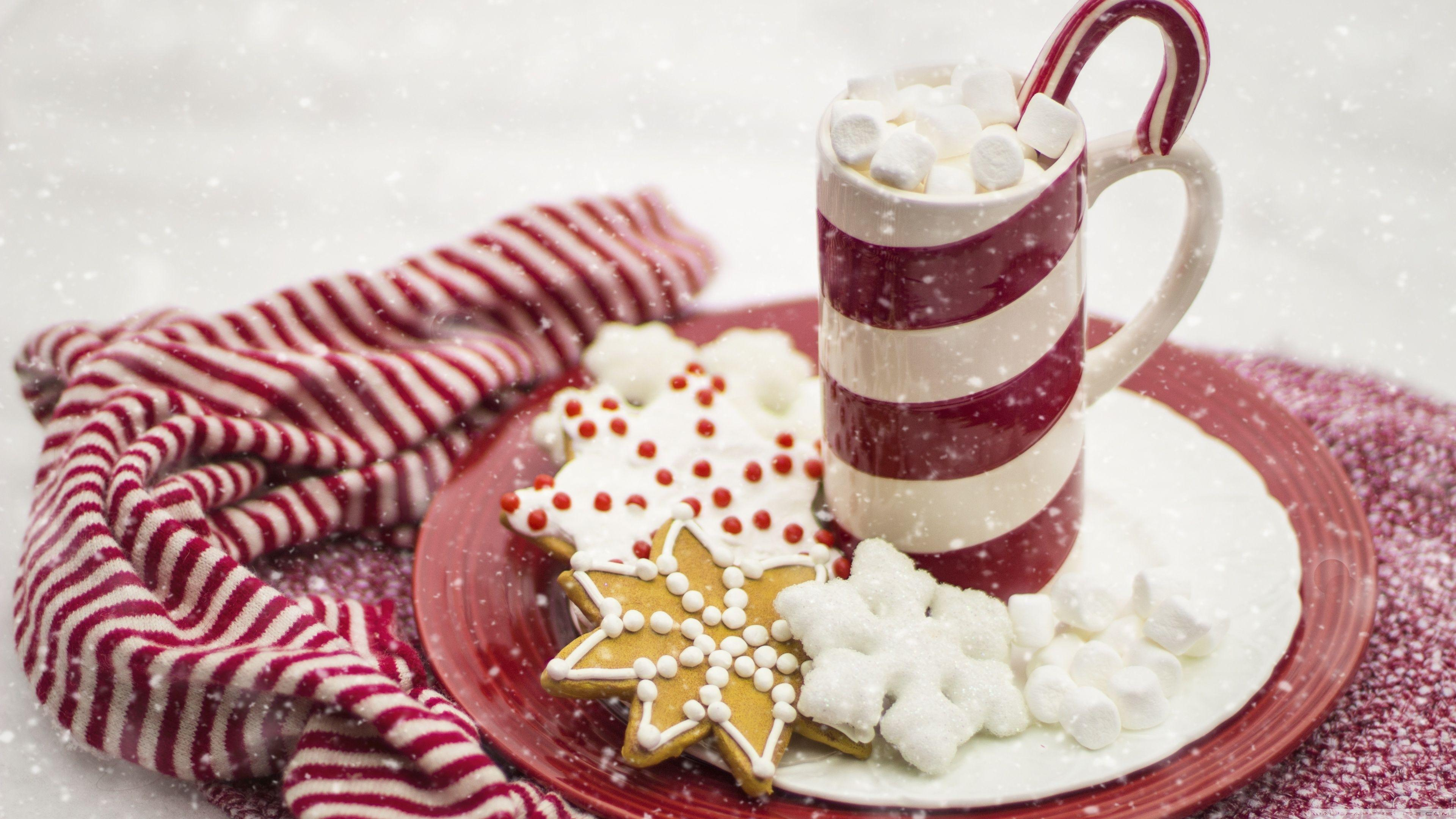 Hot Chocolate, Marshmallows, Candy Cane, Christmas ❤ 4K HD