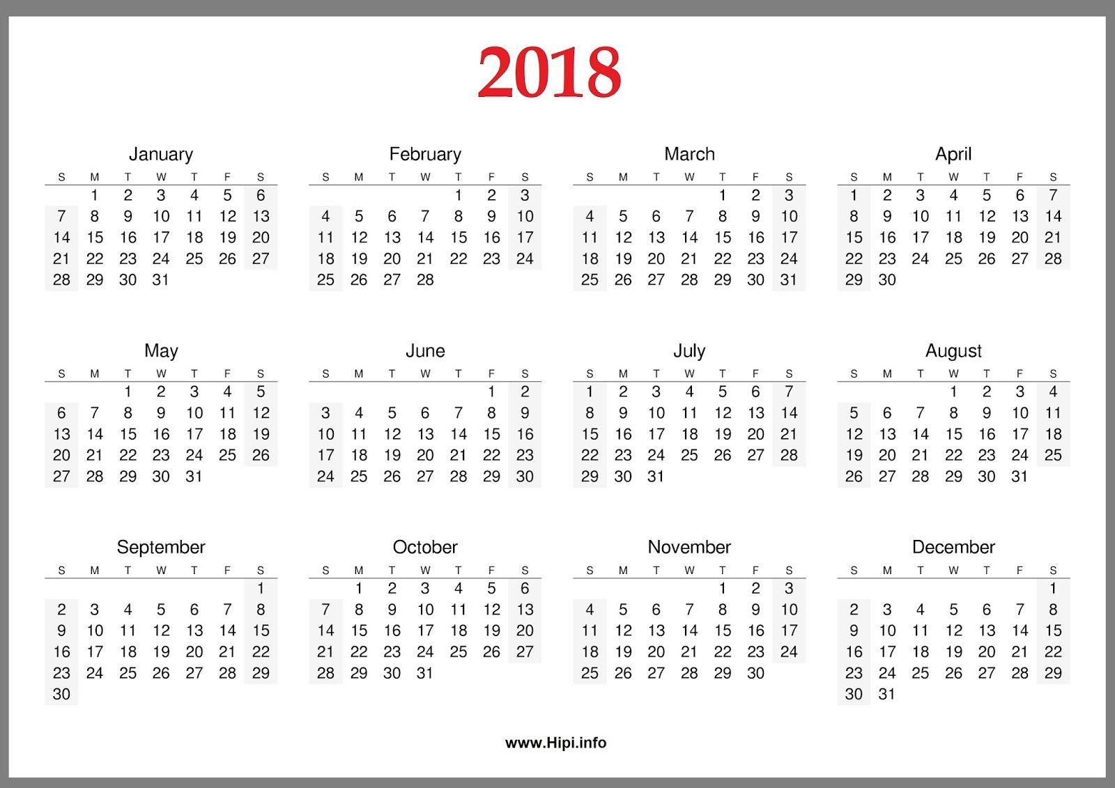 2018 Calendar Wallpapers Wallpaper Cave