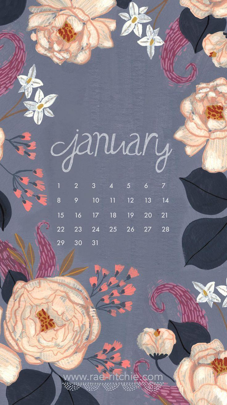 January 2018 Calendar Wallpaper | Printable Editable Blank