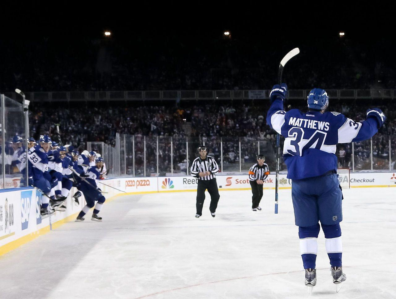 Auston Matthews celebrates his OT game winner at the 2017 NHL