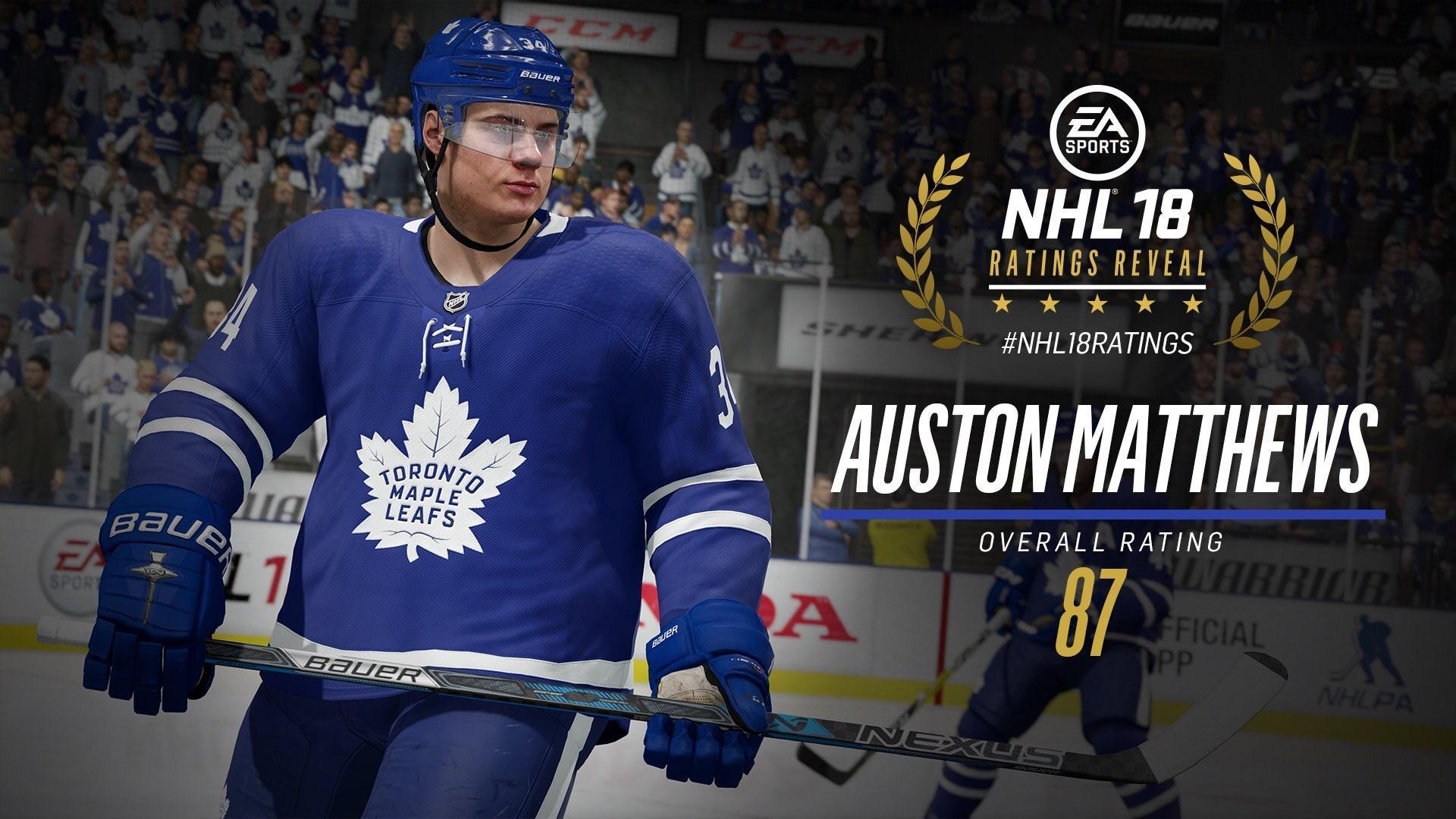 Auston Matthews is rated an 87 in NHL 18 and he's a LEAF! : leafs