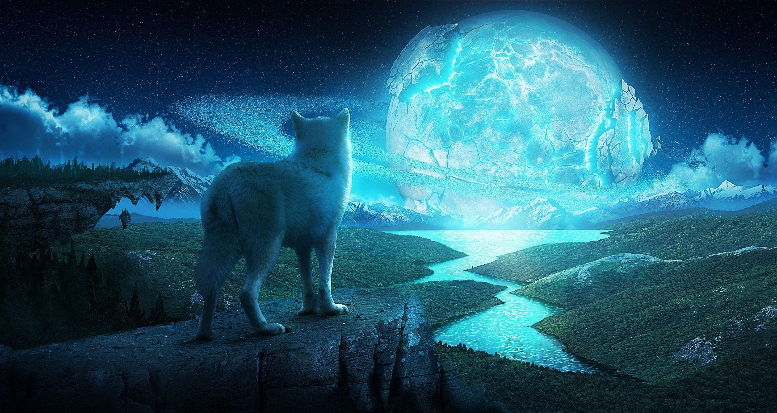 Art Wolf Night Planet Fantasy fantasy landscape wolves wallpapers