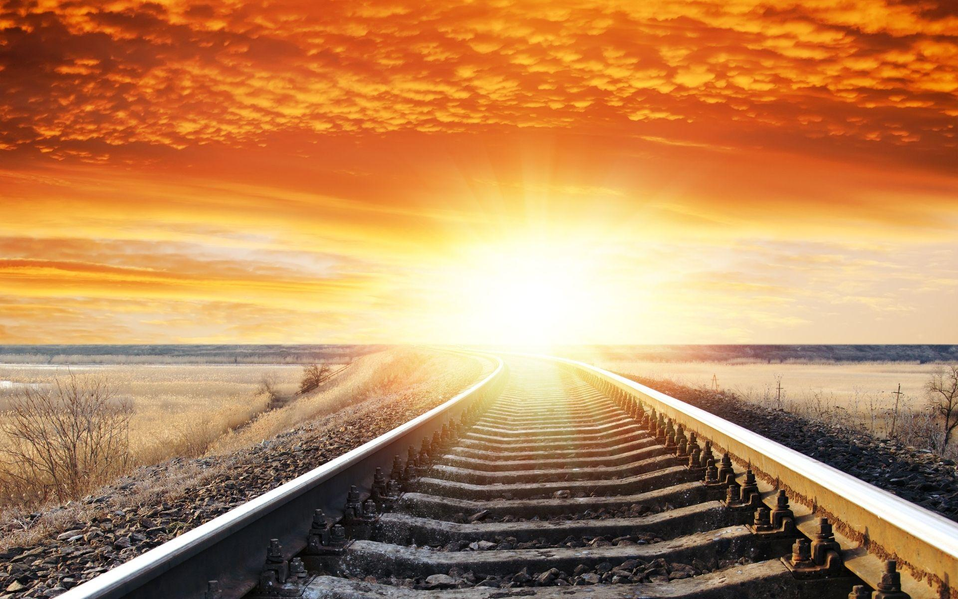 Landscape sunset sunrise sky railroad tracks wallpapers