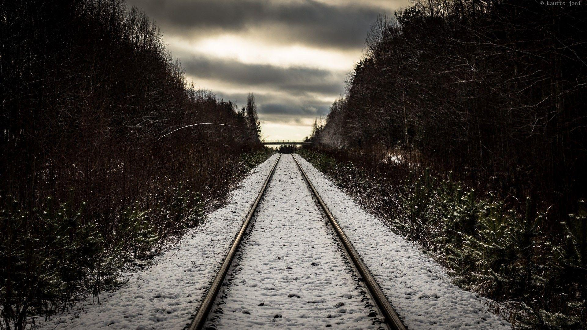 Clouds Forest Railroad Tracks Railway Snow