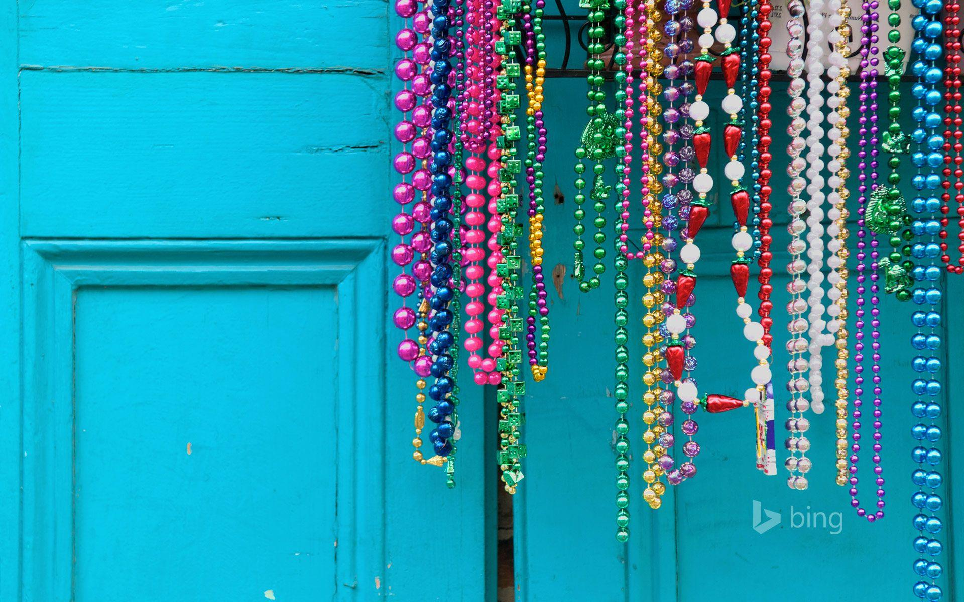 Mardi Gras beads in New Orleans, Louisiana
