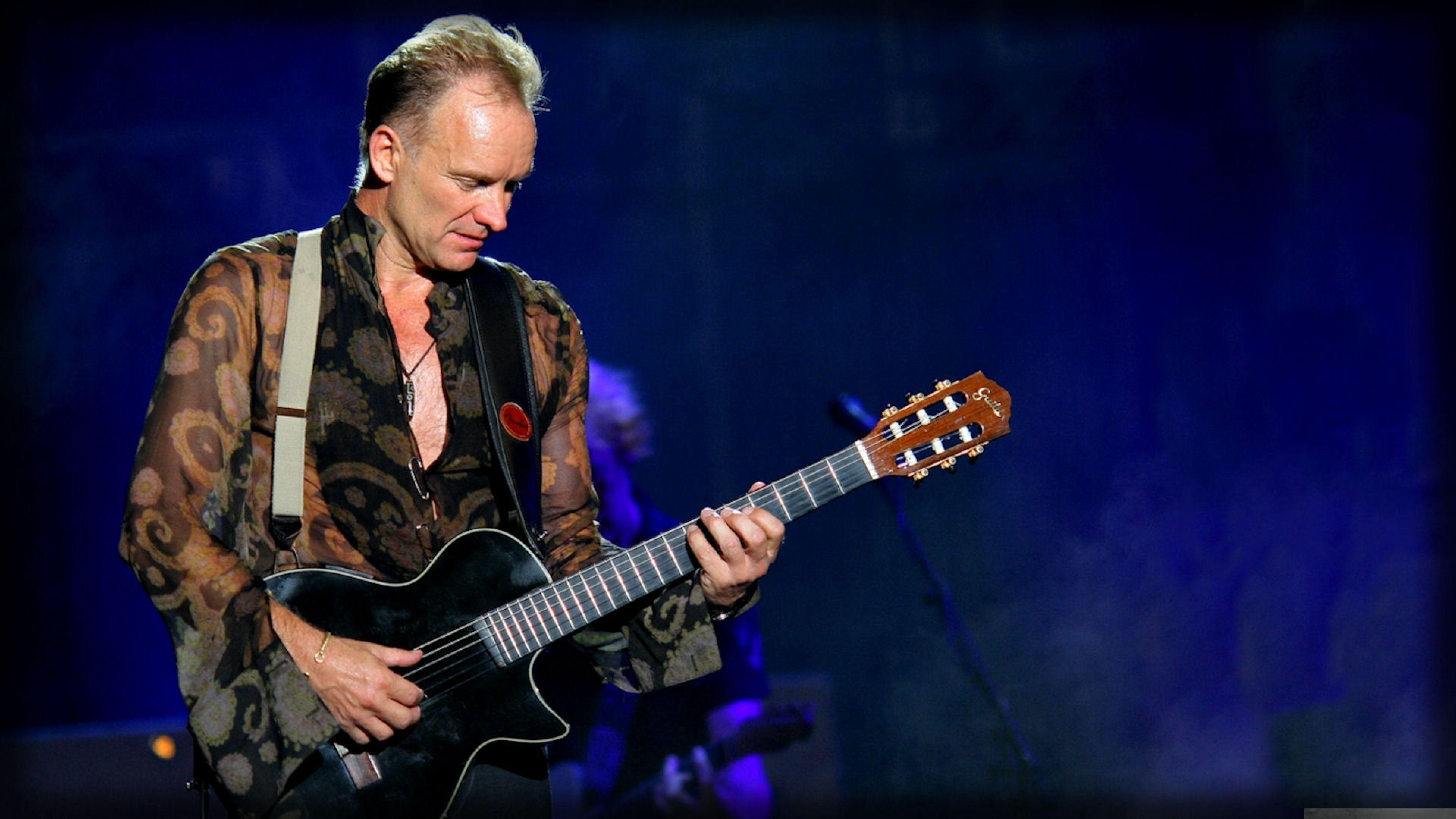 Download Wallpaper 3840x2160 Sting, Guitar, Play, Shirt, Show 4K ...