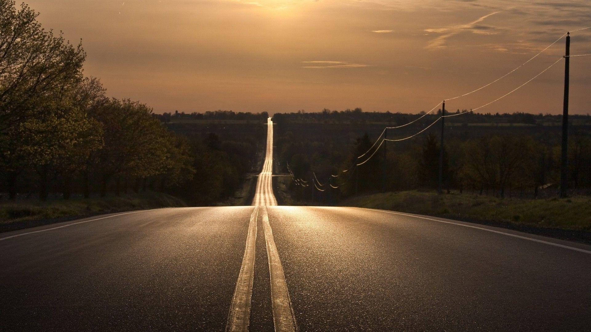 Endless Country Road Sunset Desktop Wallpaper