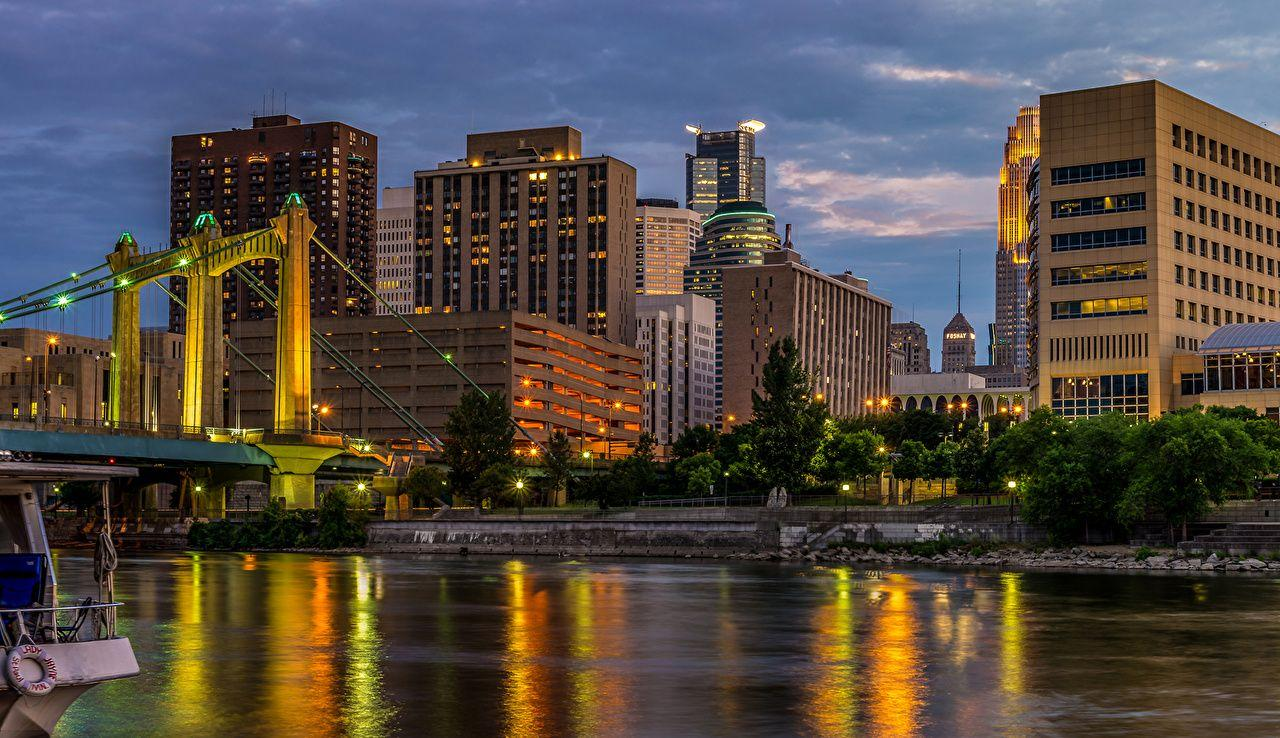 Wallpapers USA Mississippi River Minneapolis Bridges Rivers night